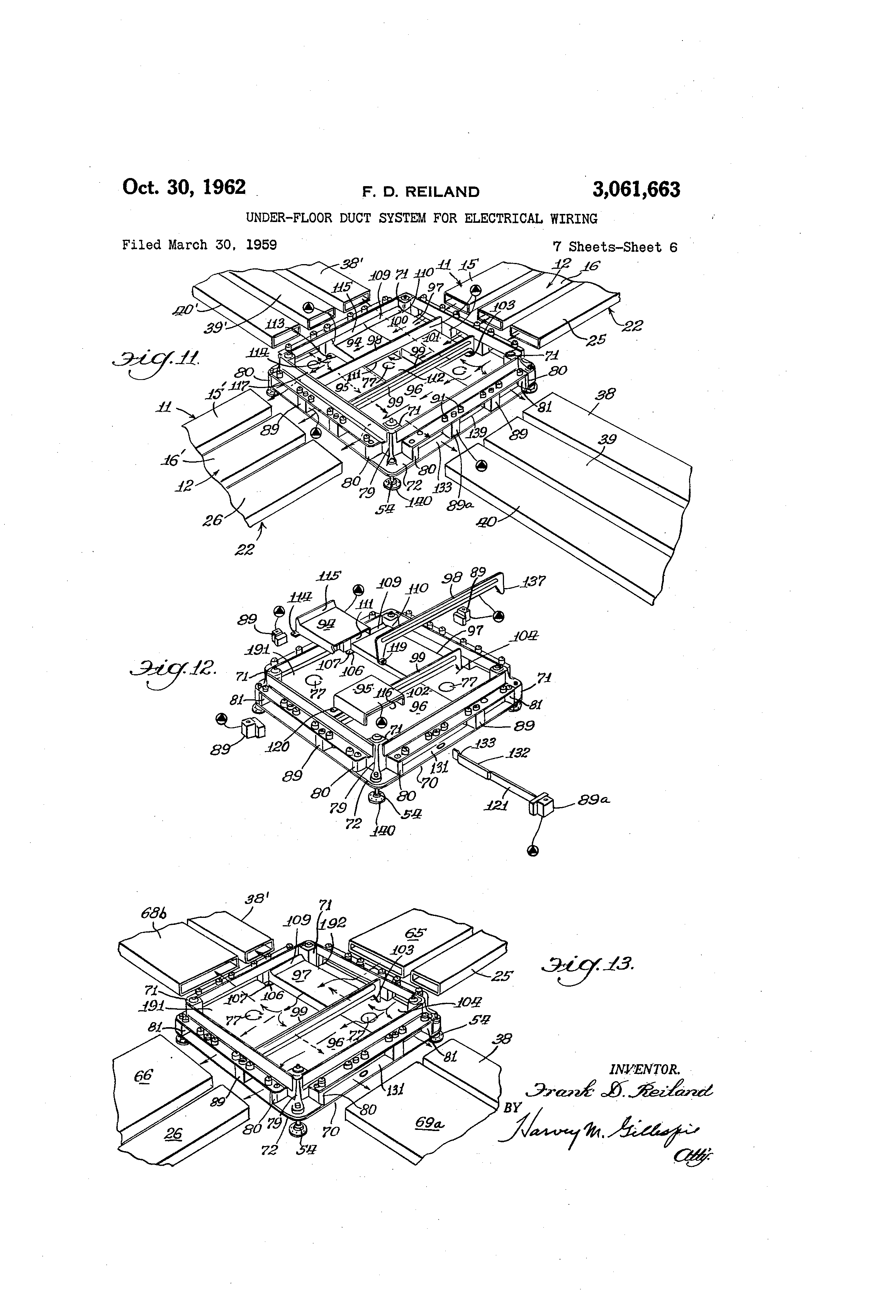 patent us3061663 - under-floor duct system for electrical wiring