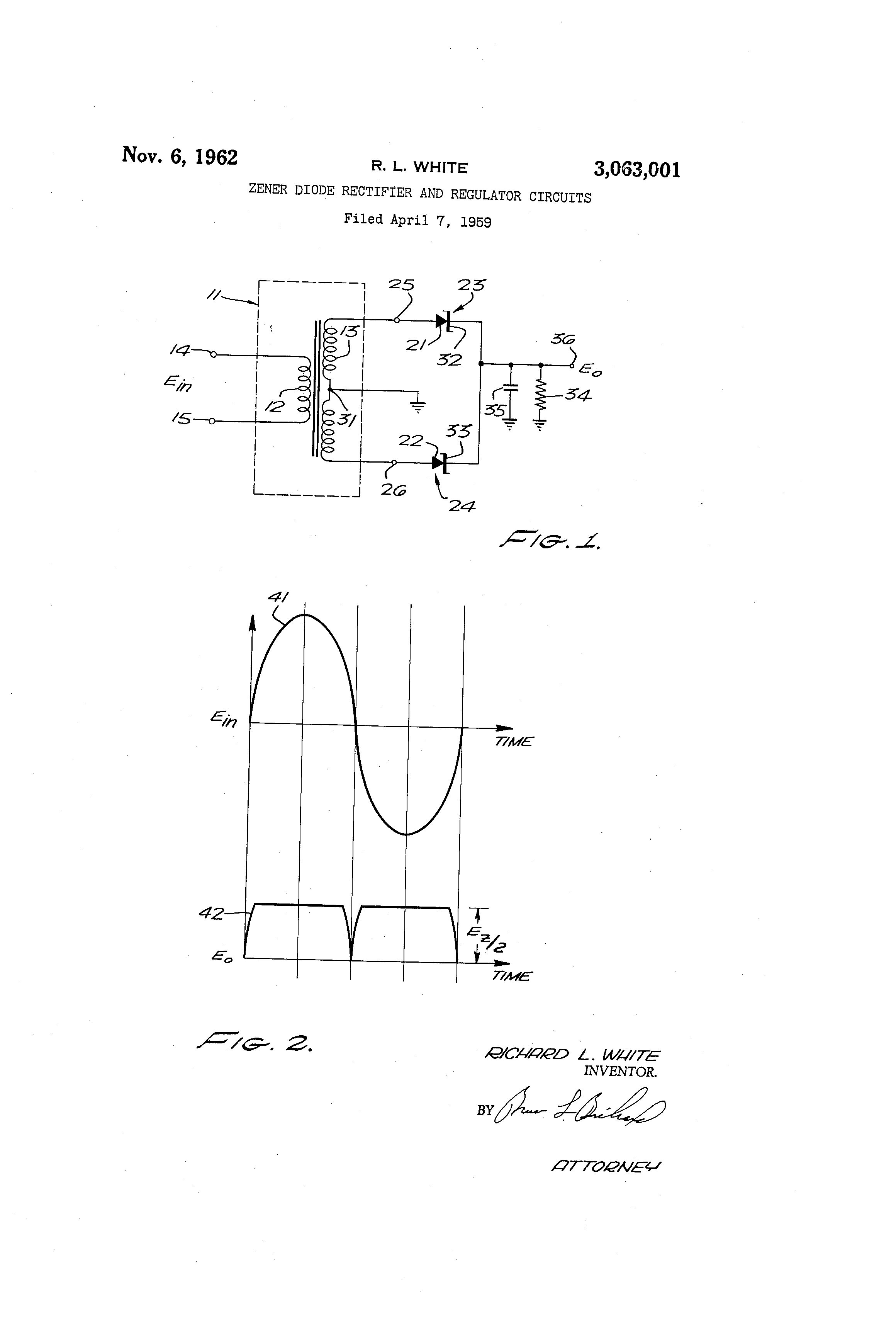 Patent Us3063001 Zener Diode Rectifier And Regulator Circuits Voltage Circuit Pictures For Their Us 3063001 A Abstract Available In Images1 Drawing