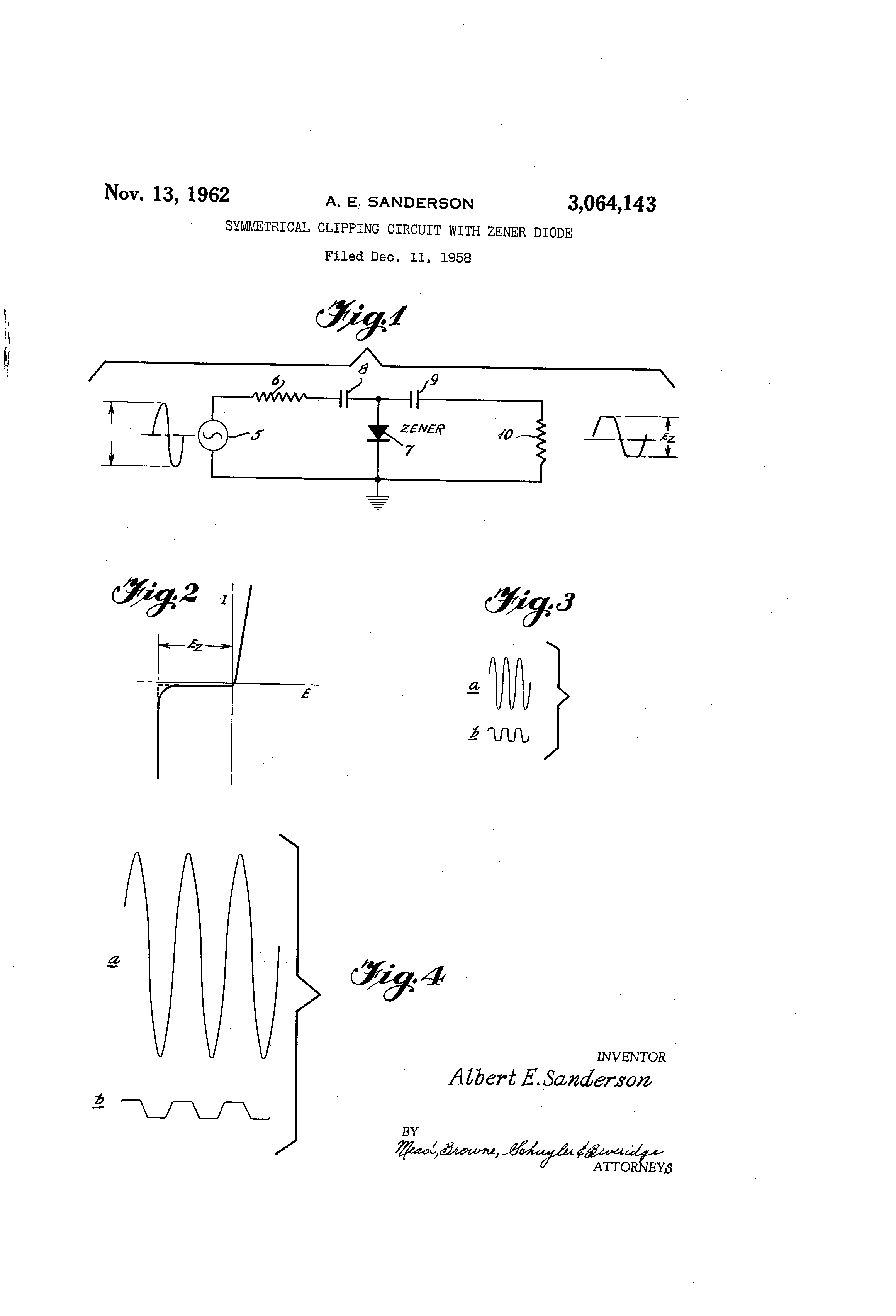 Patent Us3064143 Symmetrical Clipping Circuit With Zener Diode Limit The Current But How So And Why Do We Need It For A Drawing
