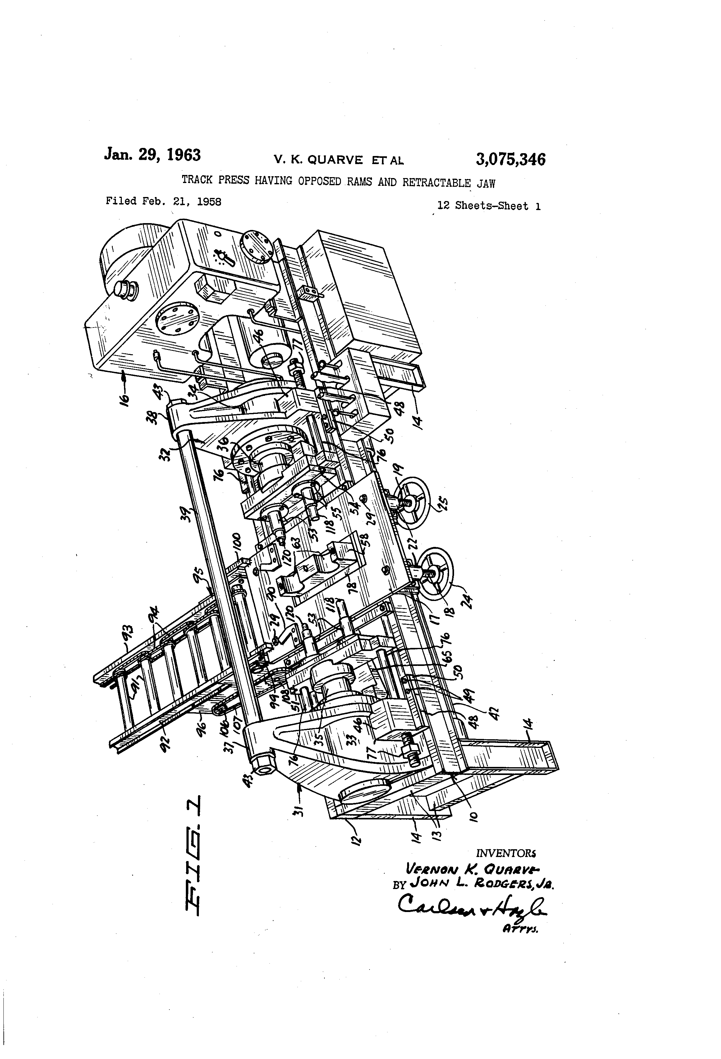 Patent Us3075346 Track Press Having Opposed Rams And Retractable 1986 Porsche Flat 6 Engine Diagram Drawing