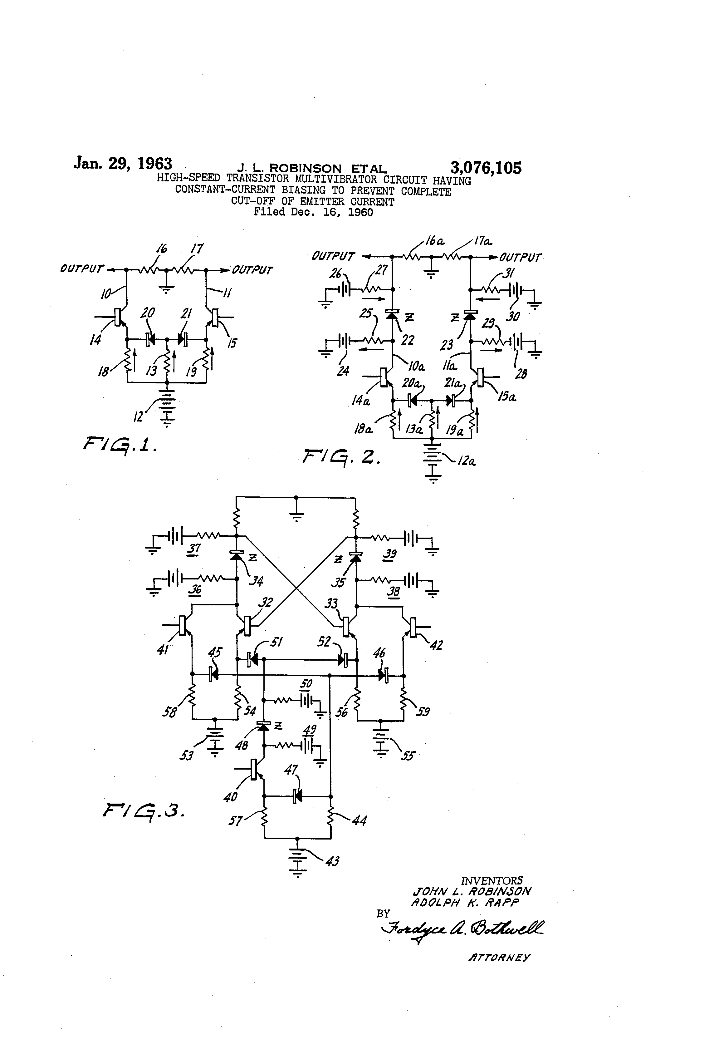 Brevet Us3076105 High Speed Transistor Multivibrator Circuit Constant Current This Can Be Adjusted To Patent Drawing