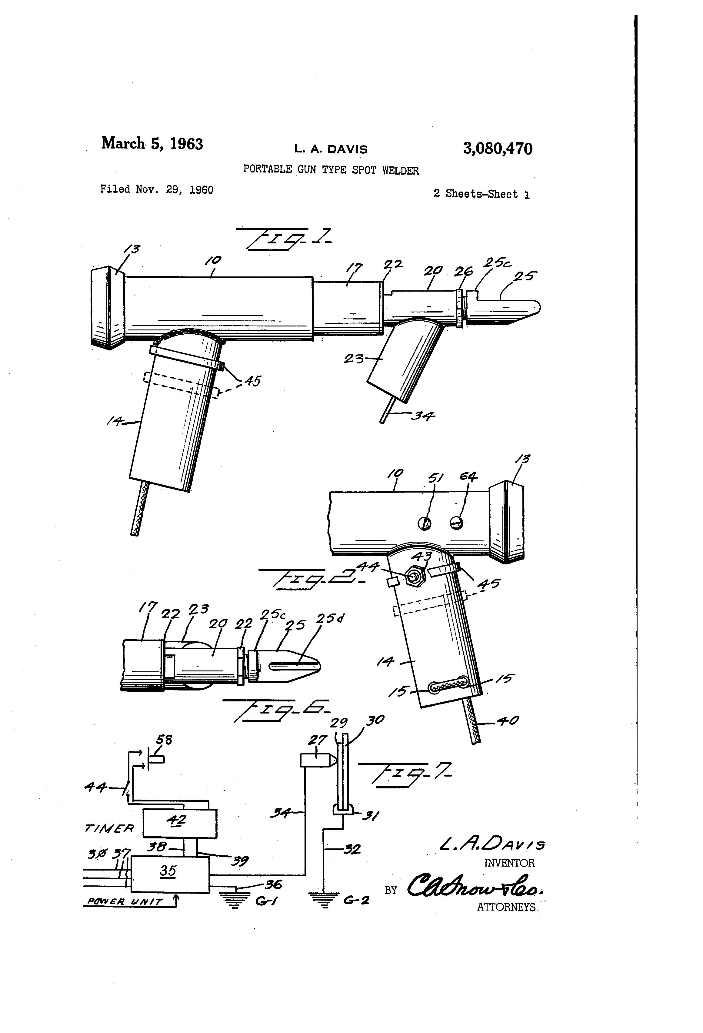 Patent Us3080470 Portable Gun Type Spot Welder Google Patents Welding Schematic Diagram Drawing
