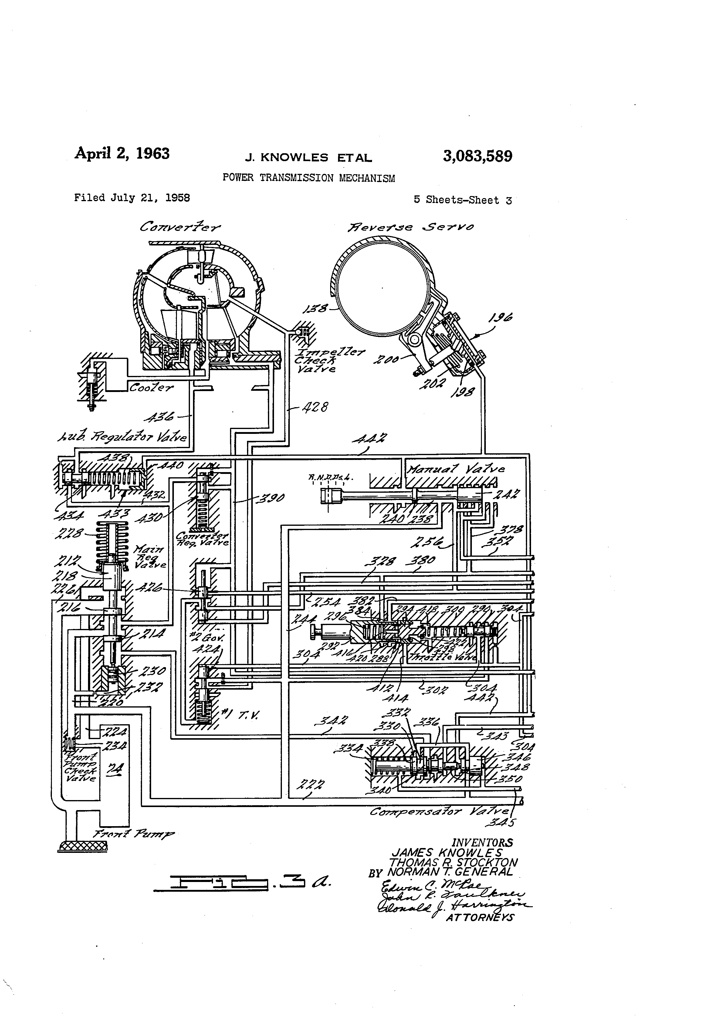 Patent Us3083589 Power Transmission Mechanism Google Patenten 428 Ford Engine Diagram Drawing