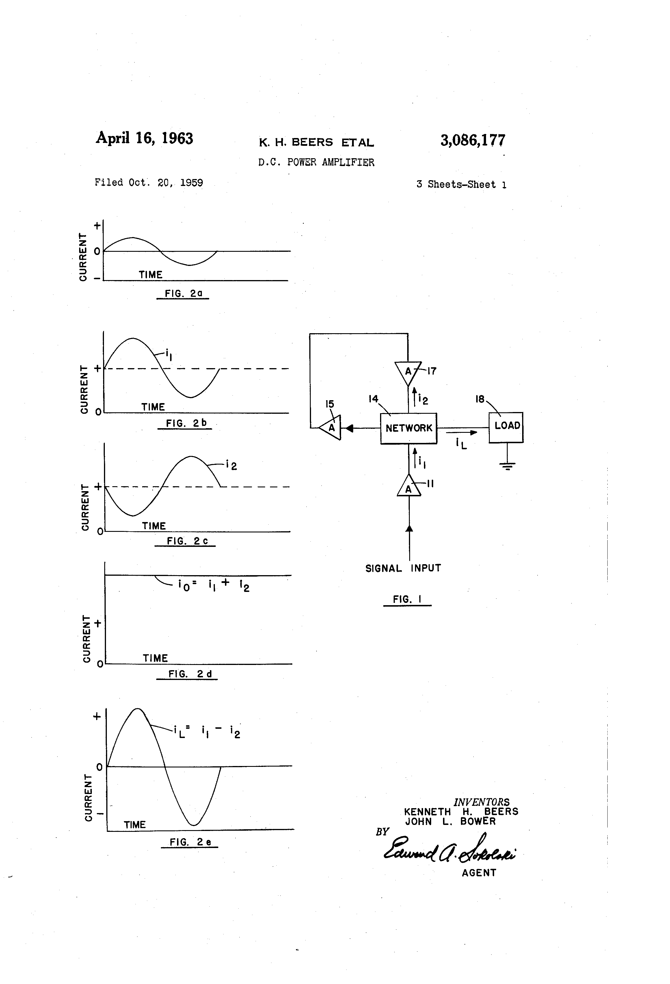 Patent Us3086177 D C Power Amplifier Google Patents Sziklai Pair With The Circuit Shown You Construct A Pnp Drawing