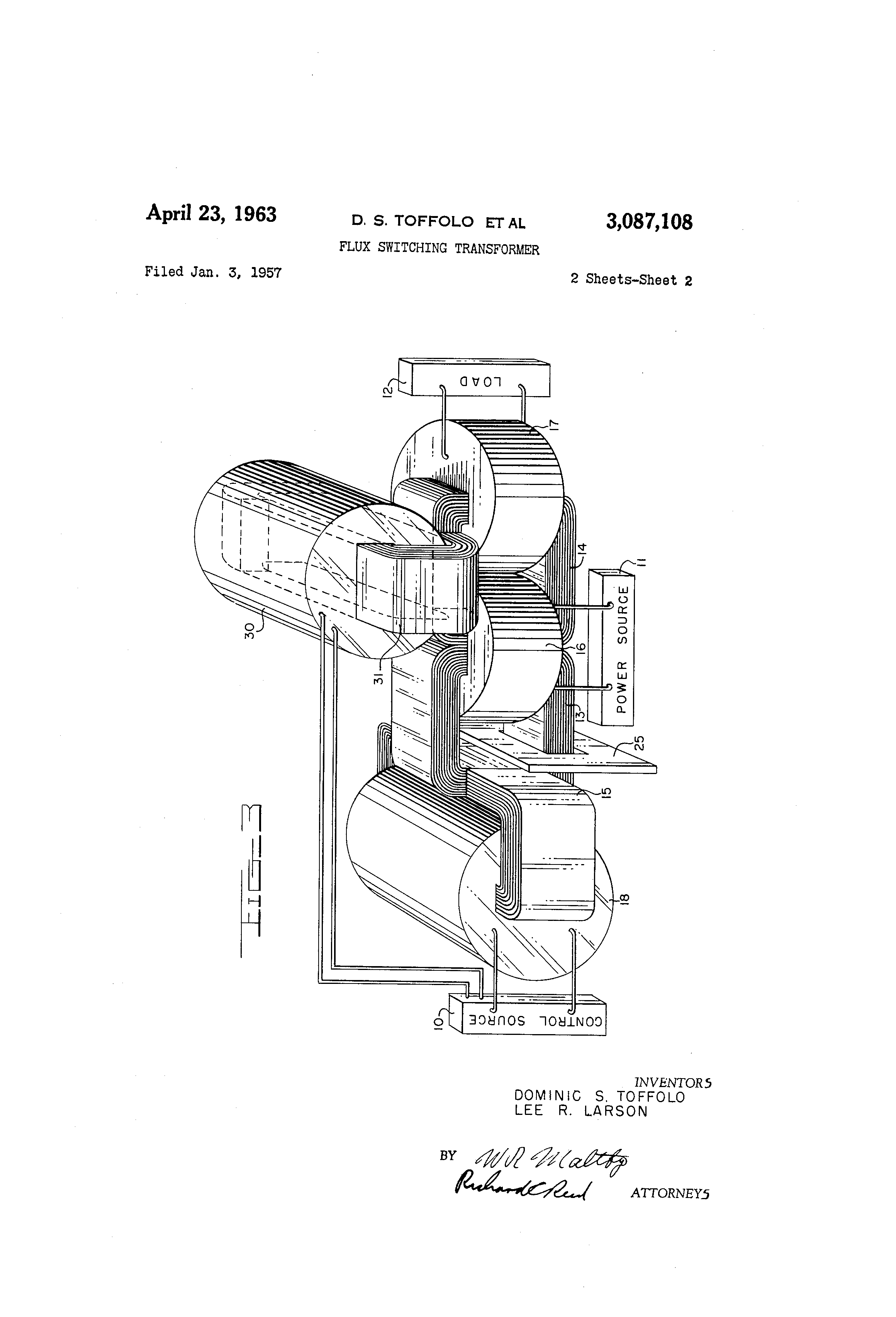 patent us3087108 - flux switching transformer