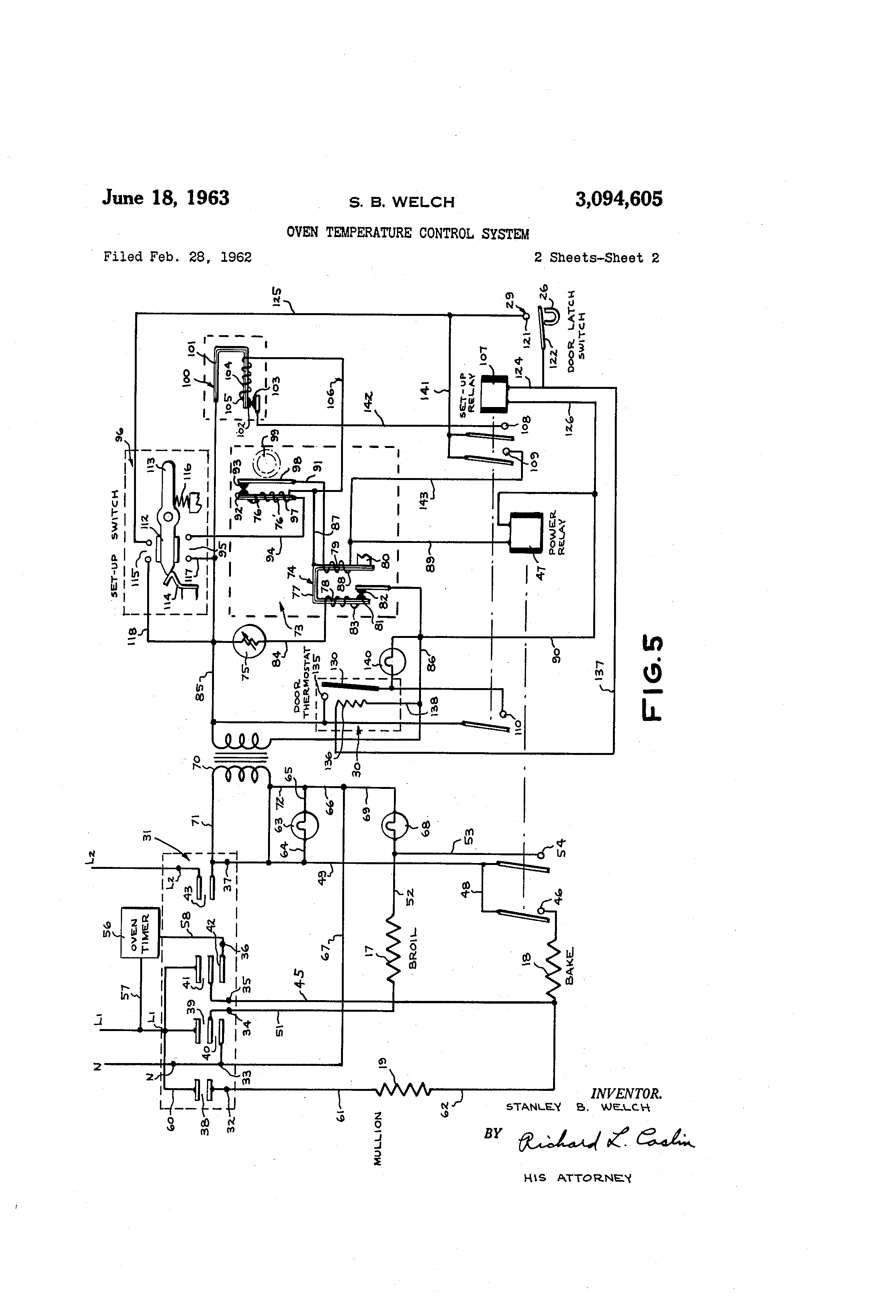 patent us3094605 oven temperature control system patents 3 Phase Lighting Wiring Diagram patent drawing