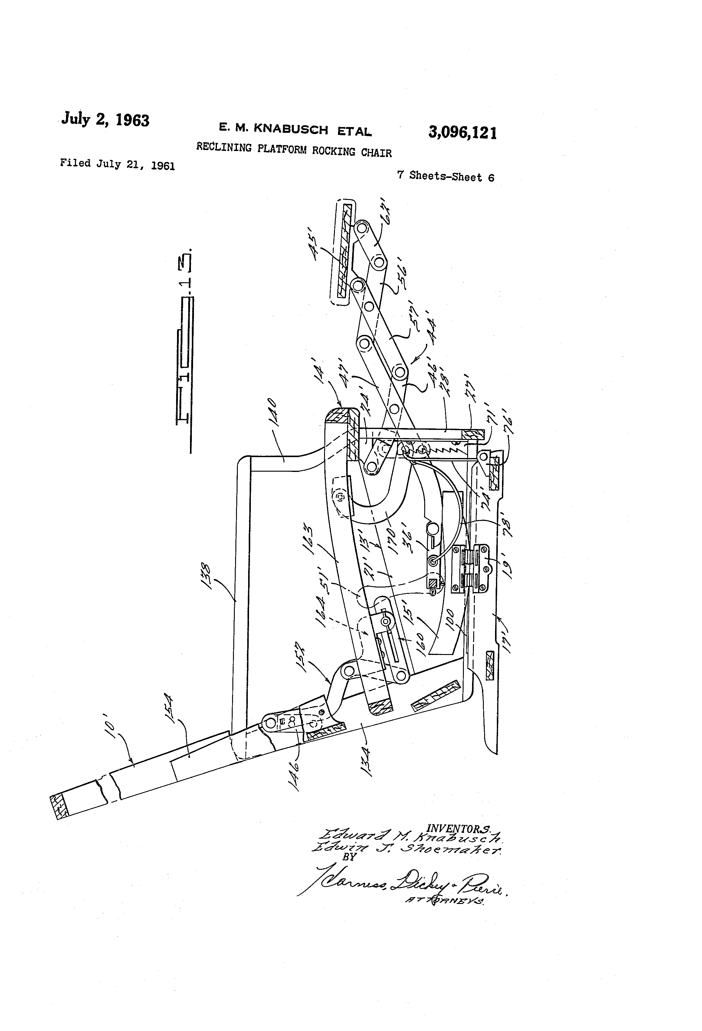 Wonderful image of Patent US3096121 Reclining platform rocking chair   Patents with #444444 color and 2320x3408 pixels