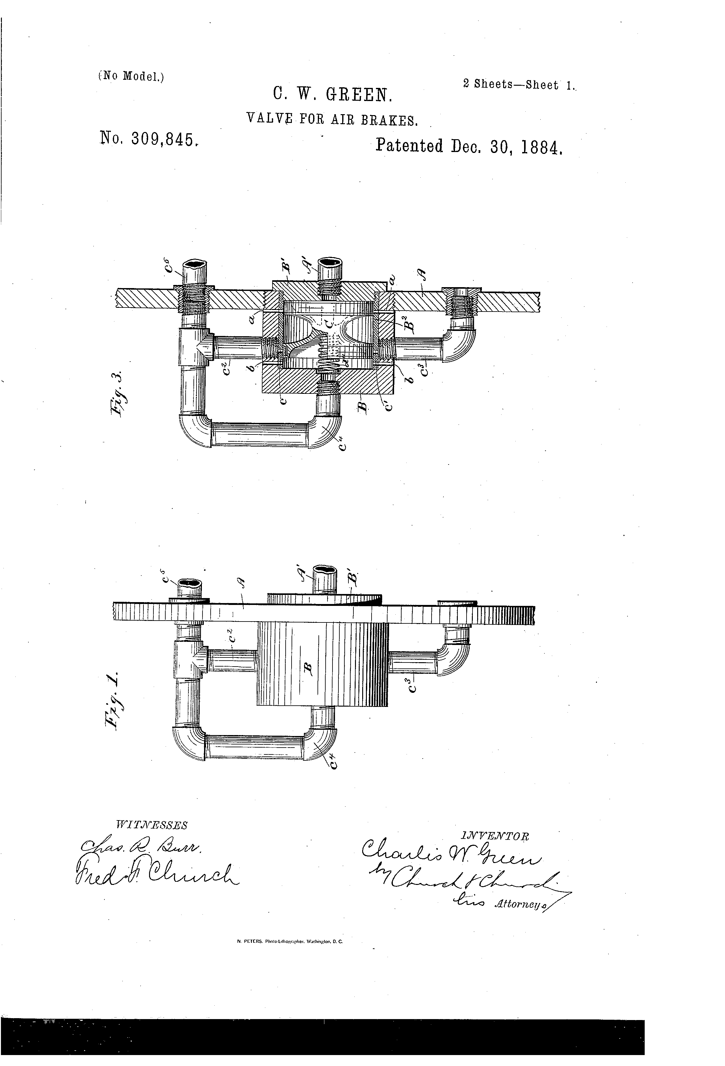 Patent Us309845 Valve For Air Brakes Google Patents Schematic Drawing