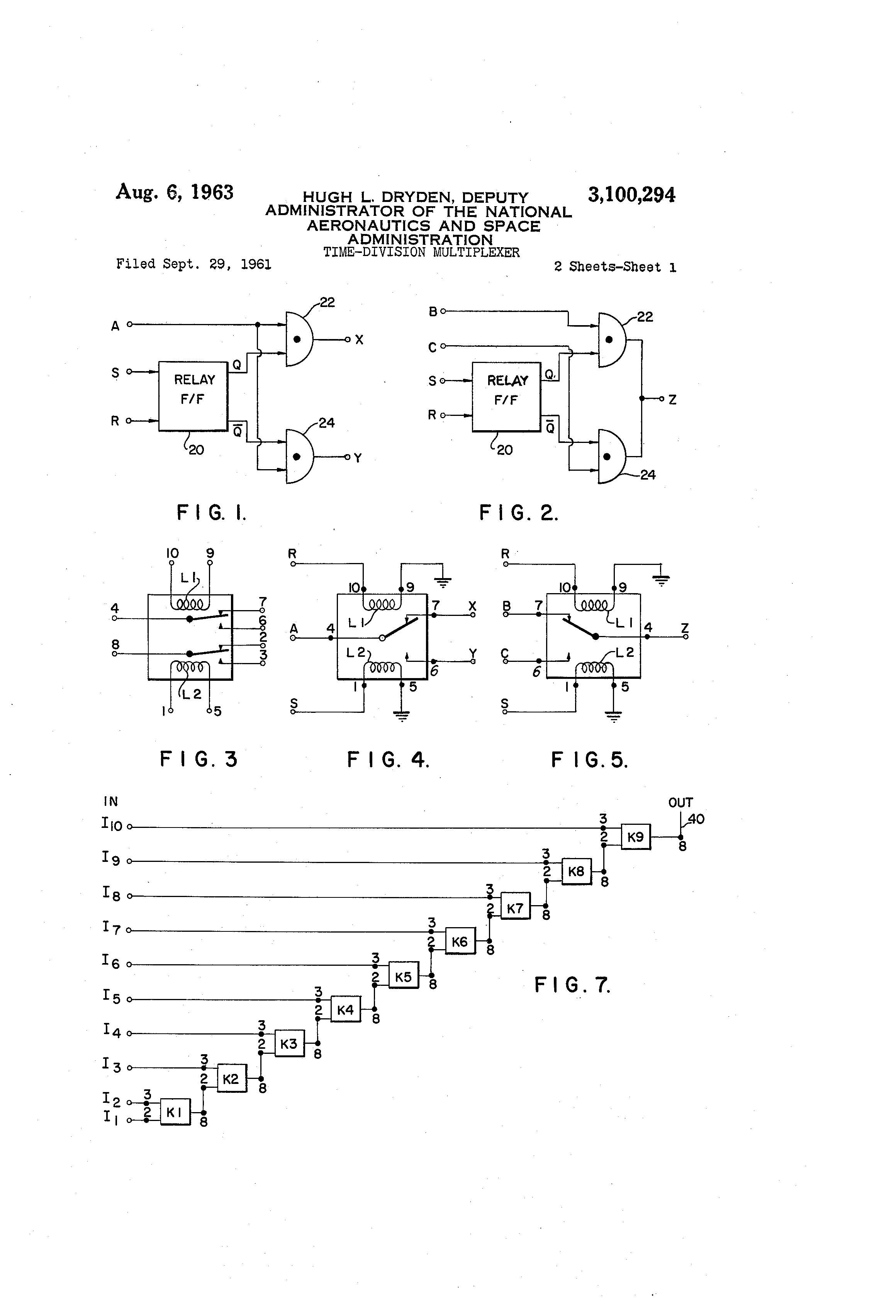 Patent Us3100294 Time Division Multiplexer Google Patents Reed Switch Wiring With Relays Moreover Latching Relay Circuit Diagram Drawing