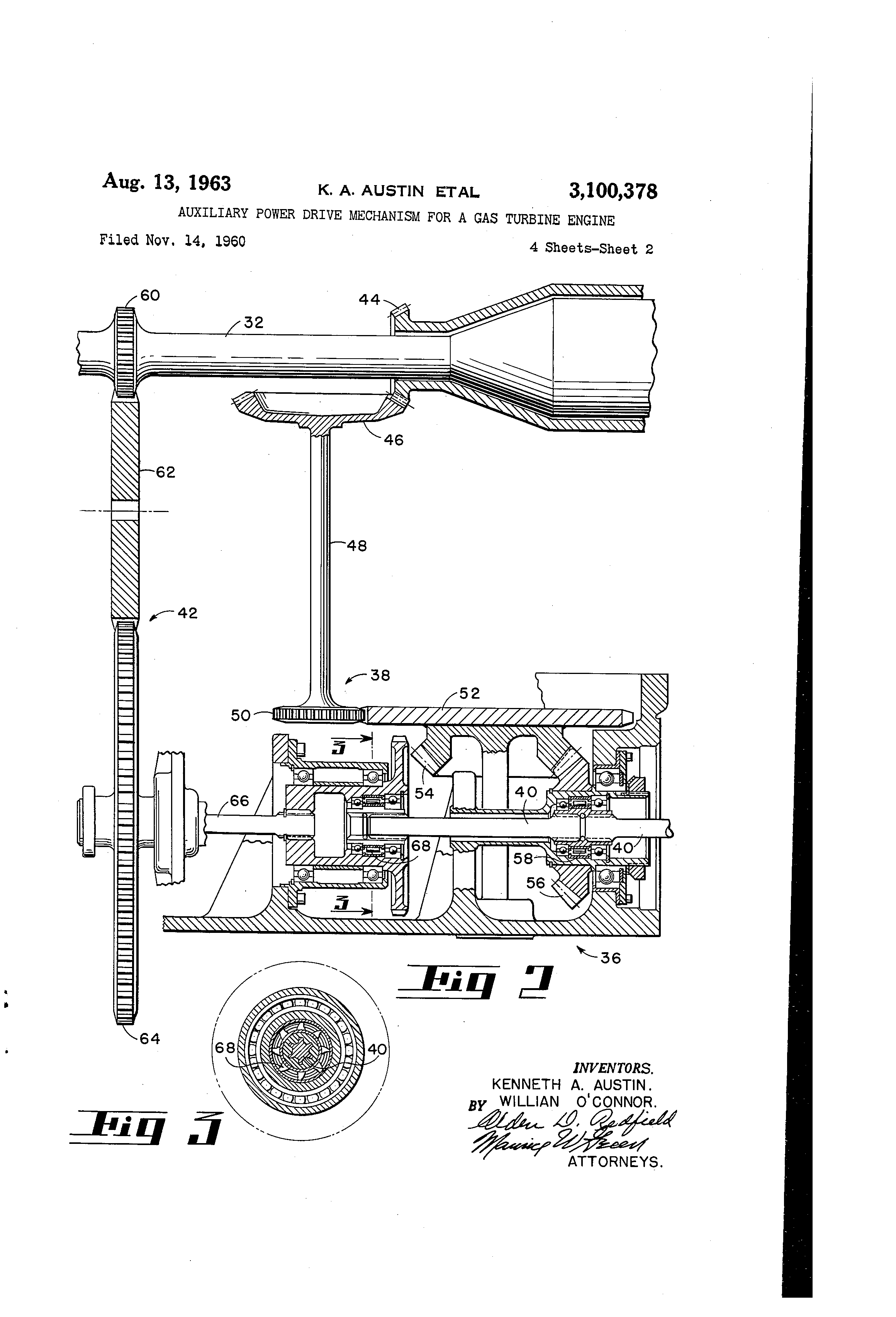 Patent Us3100378 Auxiliary Power Drive Mechanism For A Gas Turbine 3100 Engine Diagram Drawing