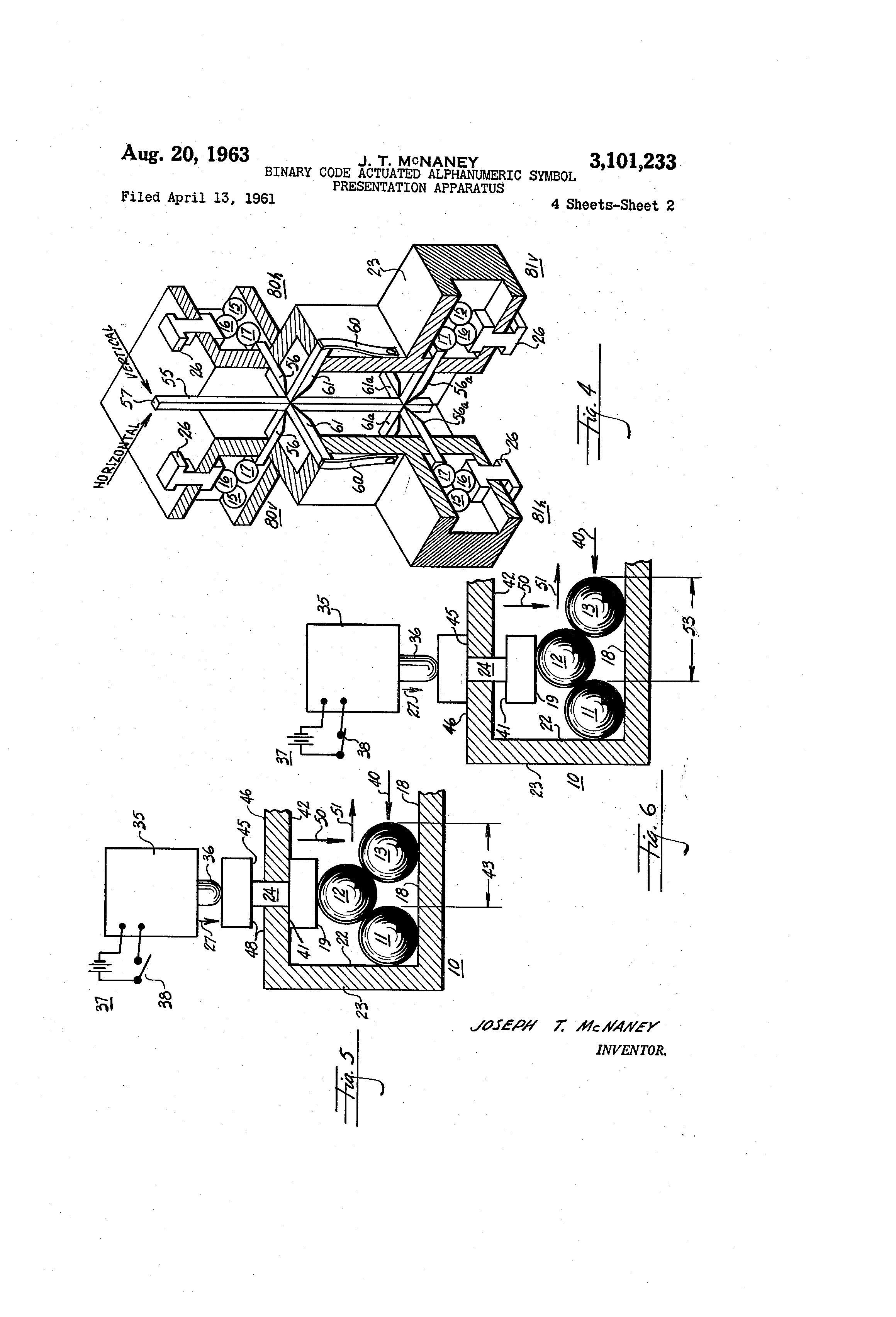 Patent Us3101233 Binary Code Actuated Alphanumeric Symbol On Circuit Board Drawing
