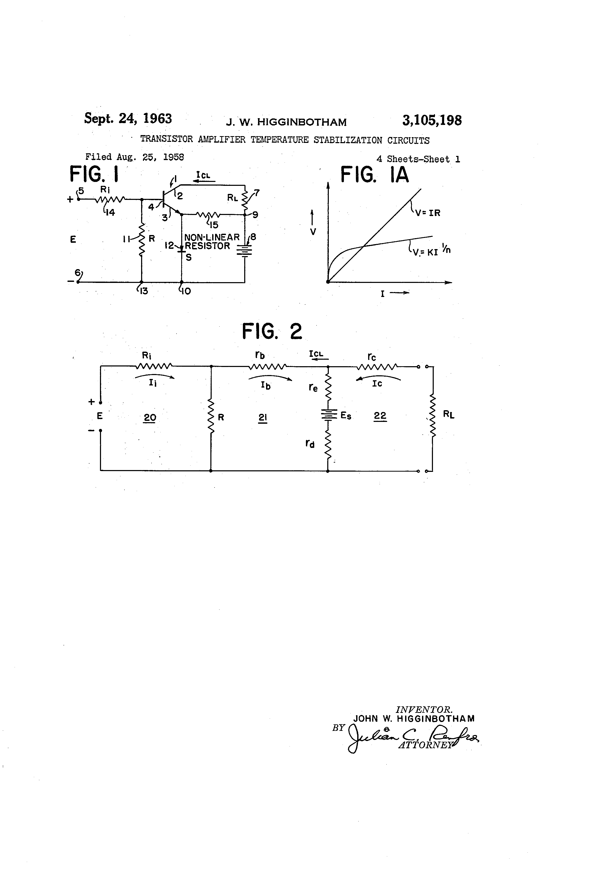 Patent Us3105198 Transistor Amplifier Temperature Stabilization Circuits Gt Ac Power Filter And Phone Line Homemade Circuit Drawing