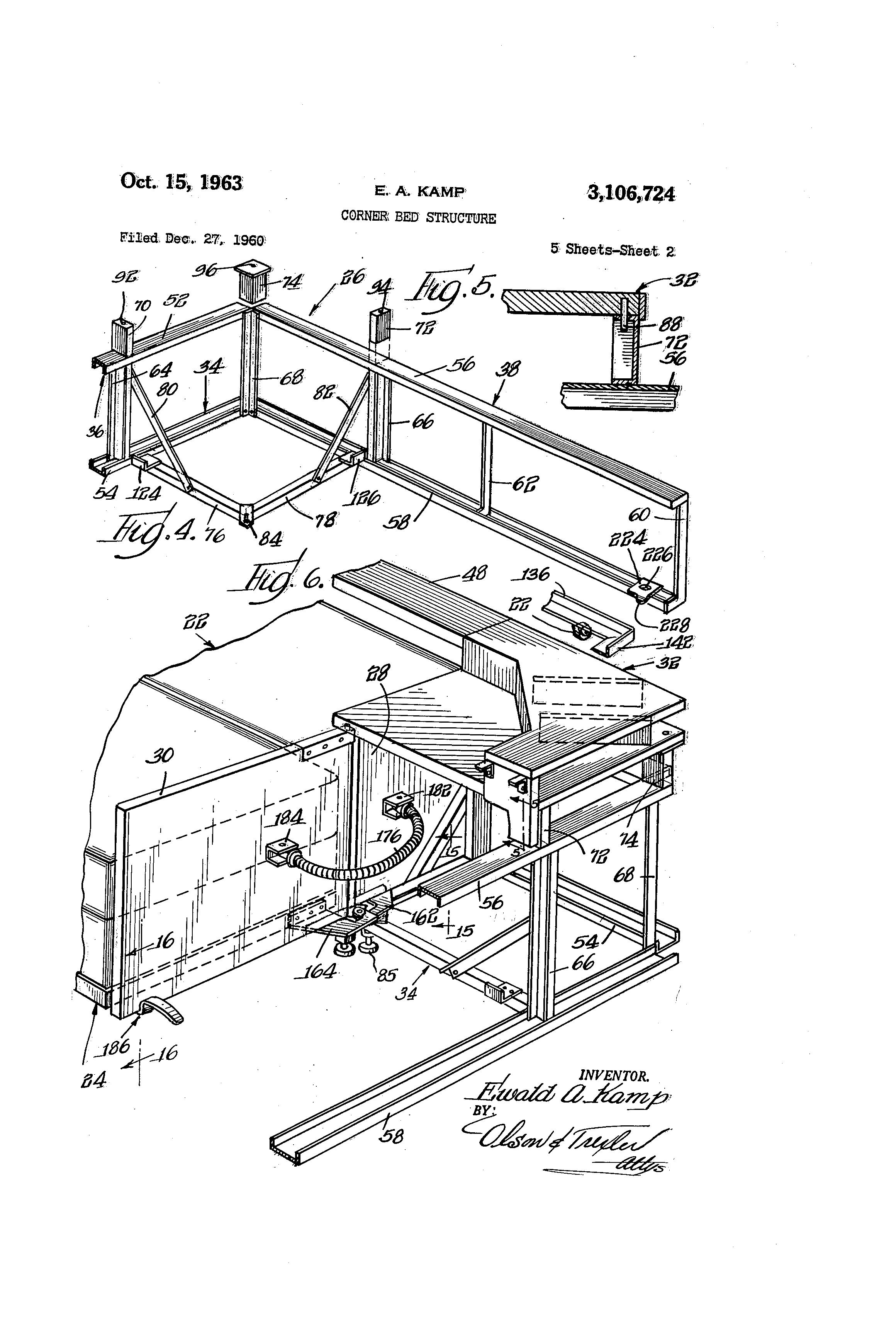 patent us3106724 corner bed structure google patents. Black Bedroom Furniture Sets. Home Design Ideas