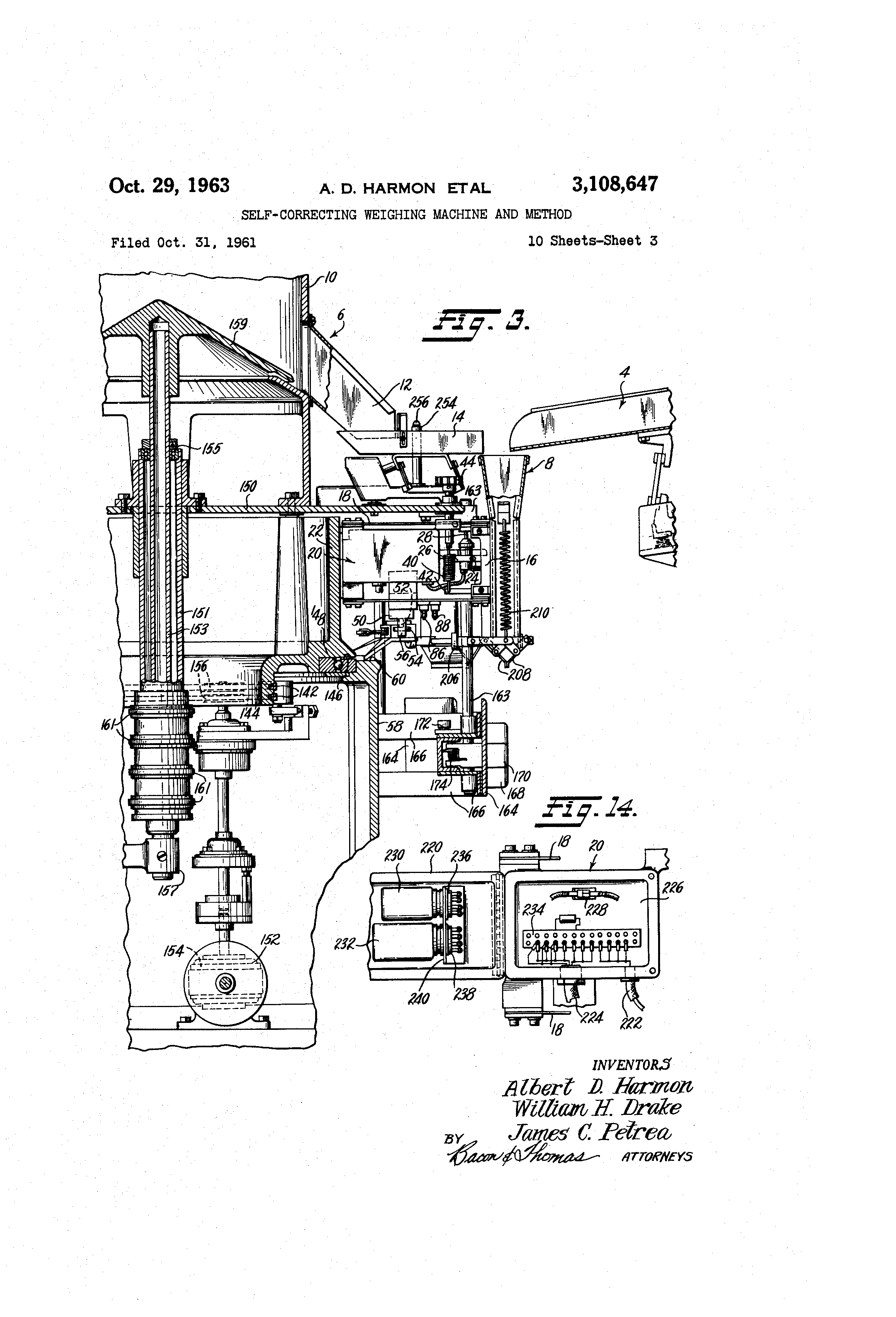 Patent Us3108647 Self Correcting Weighing Machine And Method Wiring Diagram For 1959 Cadillac All Series Part 2 Drawing