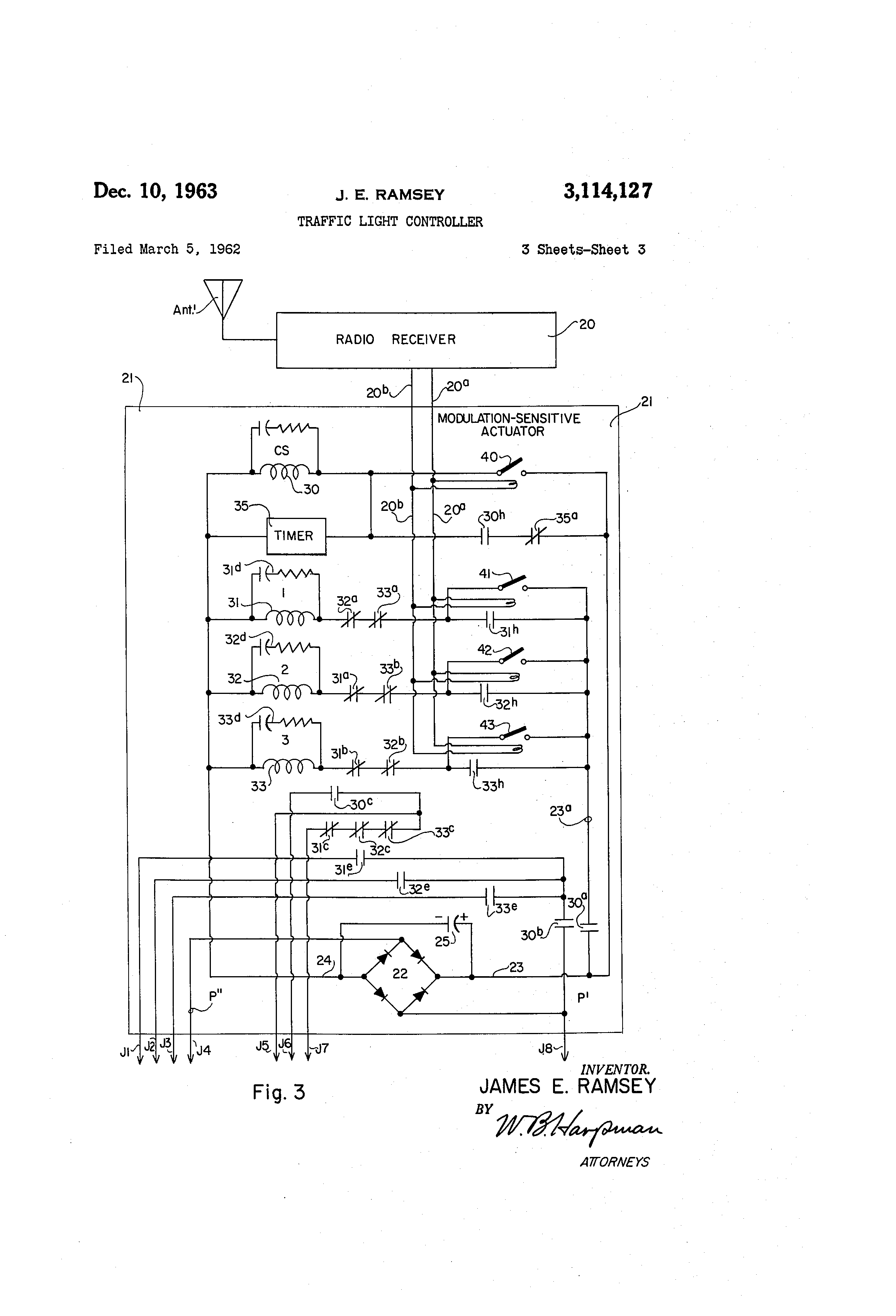 patent us3114127 - traffic light controller