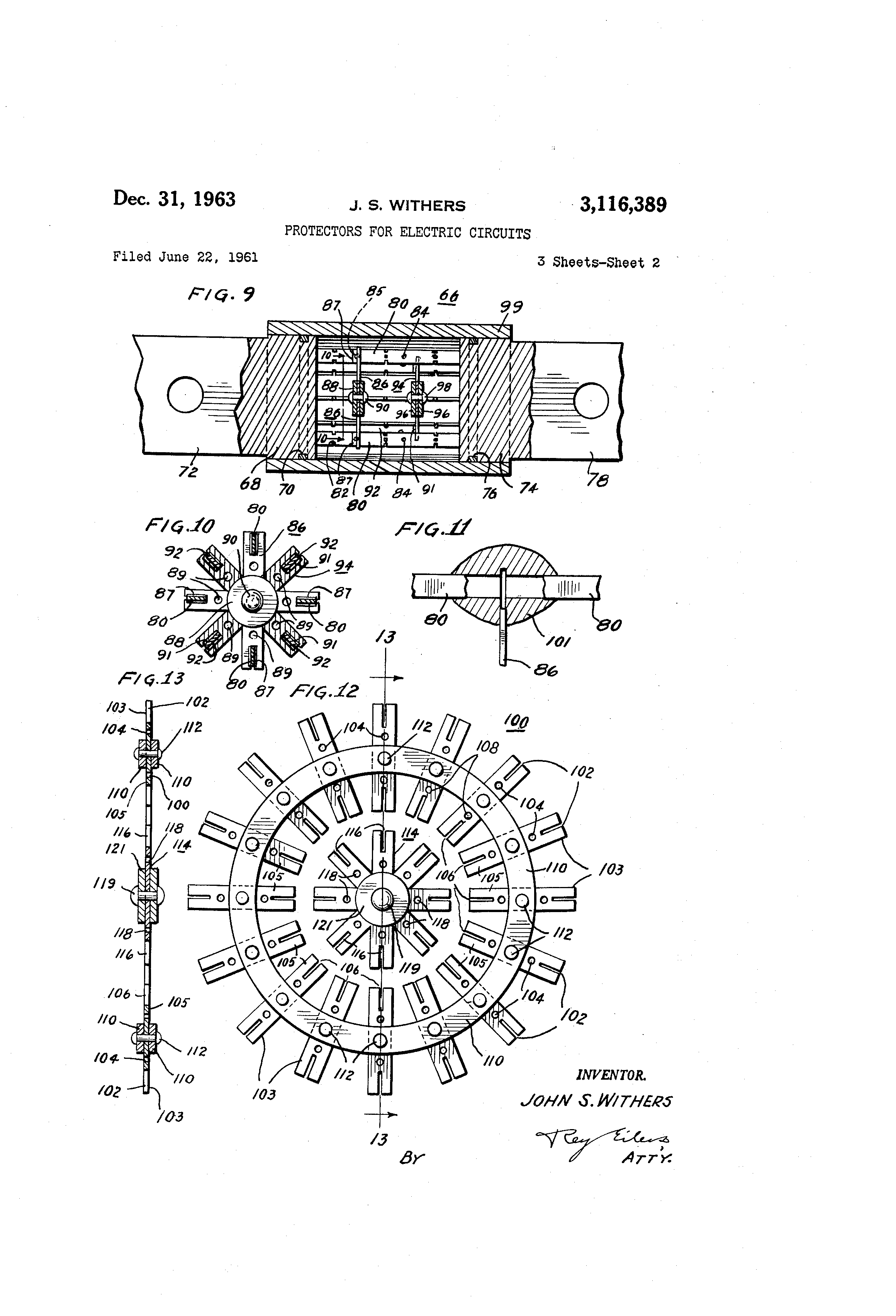 Patent US3116389 - Protectors for electric circuits - Google Patents