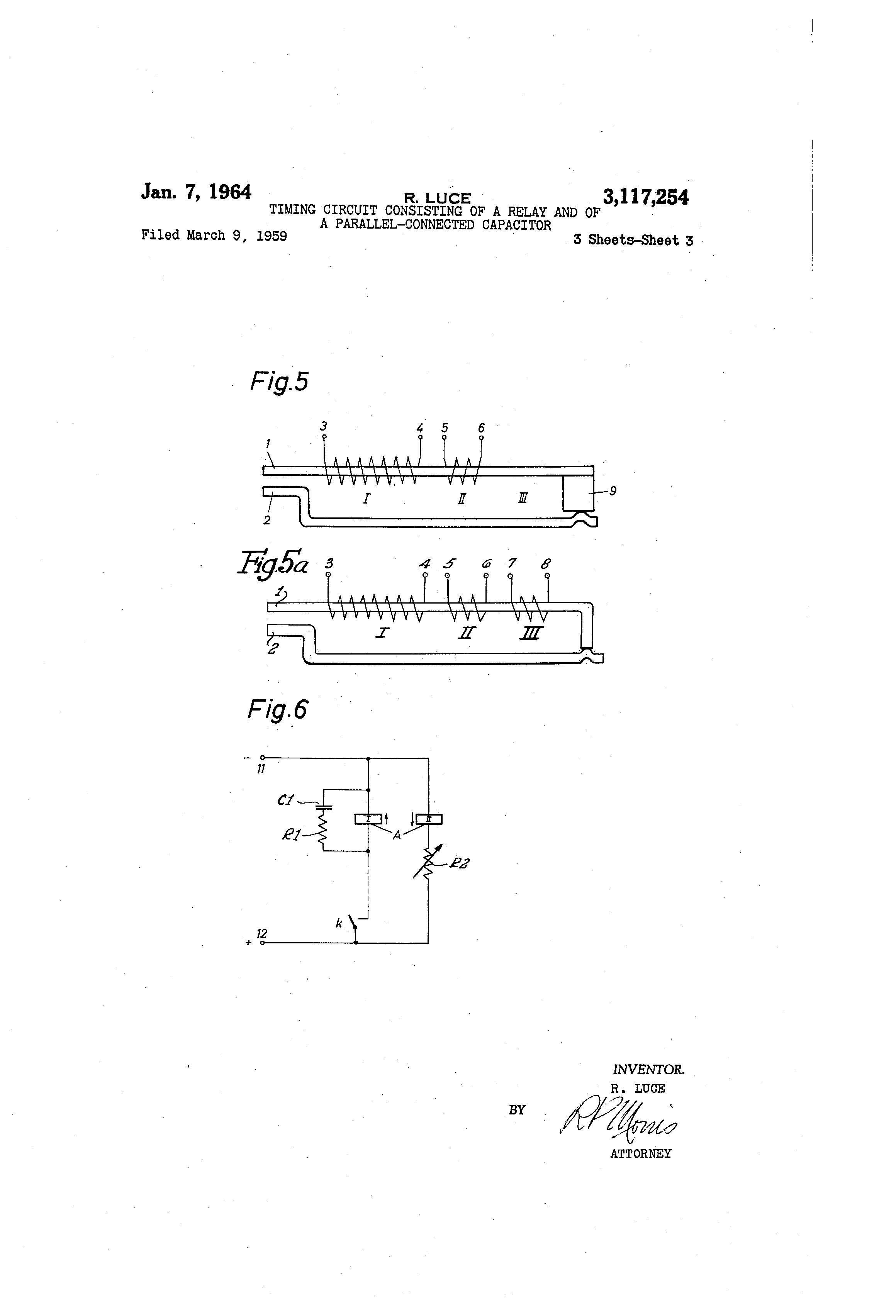 Patent Us3117254 Timing Circuit Consisting Of A Relay And Timer Drawing
