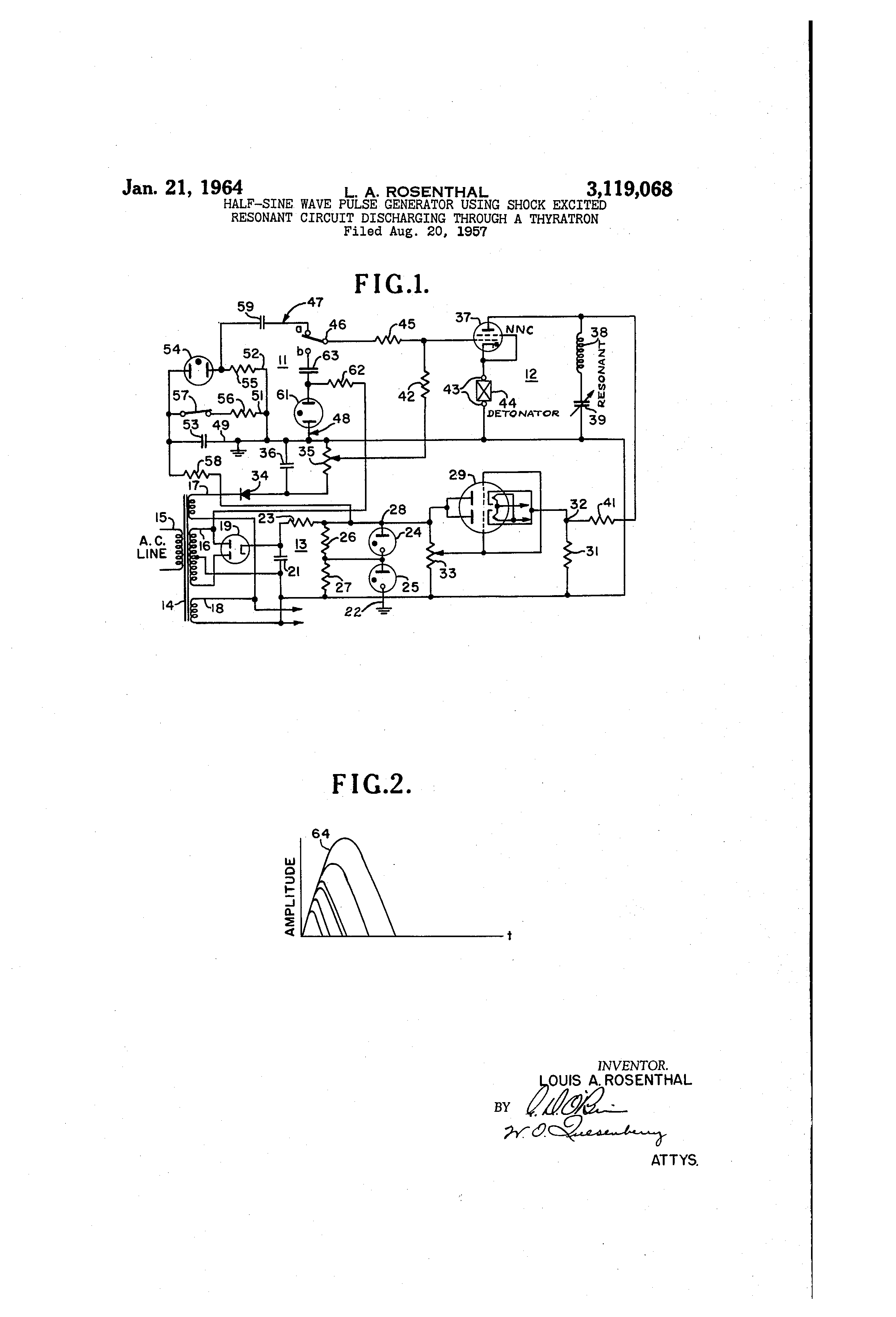Patent Us3119068 Half Sine Wave Pulse Generator Using Shock The Circuit Drawing
