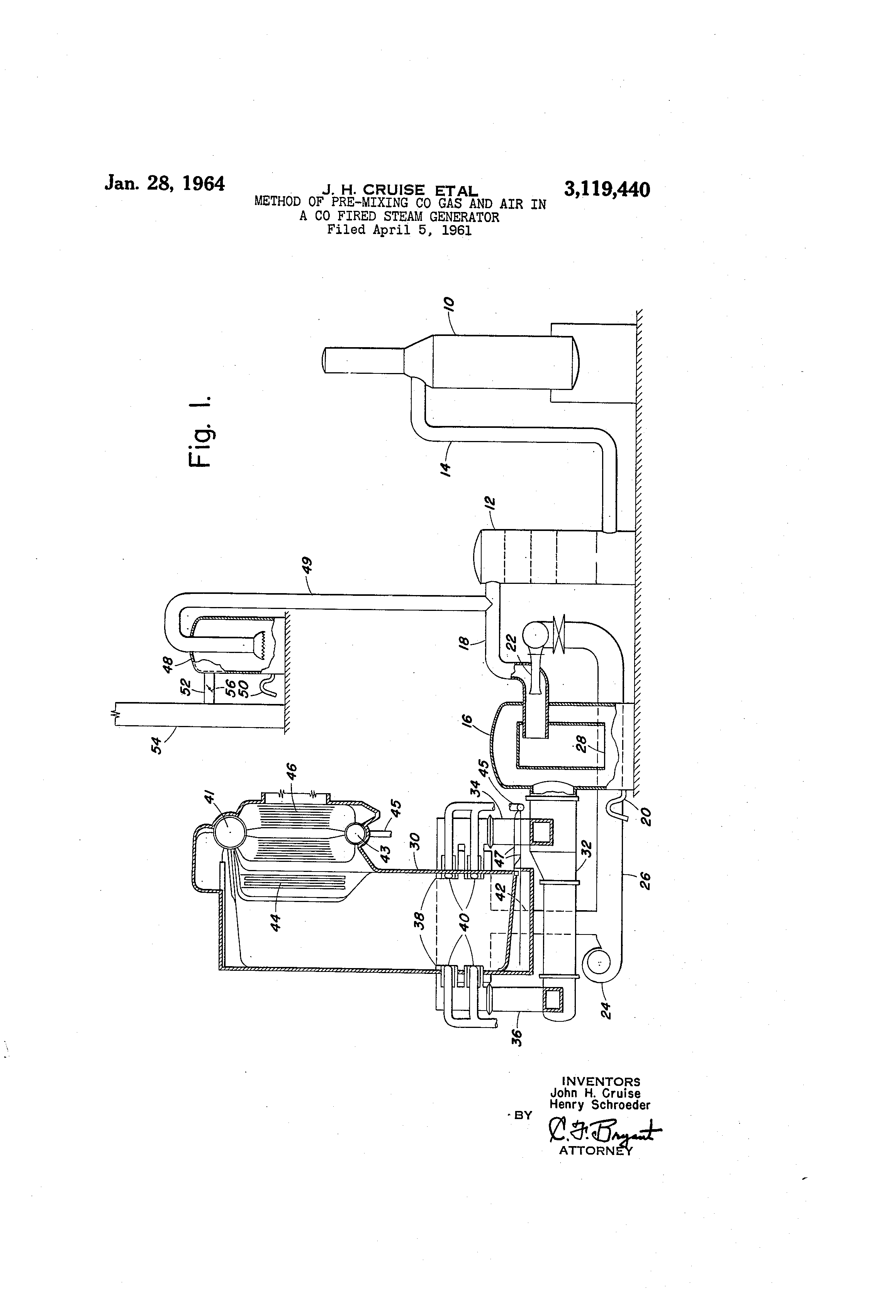 Patent US Method of pre mixing co gas and air in a co