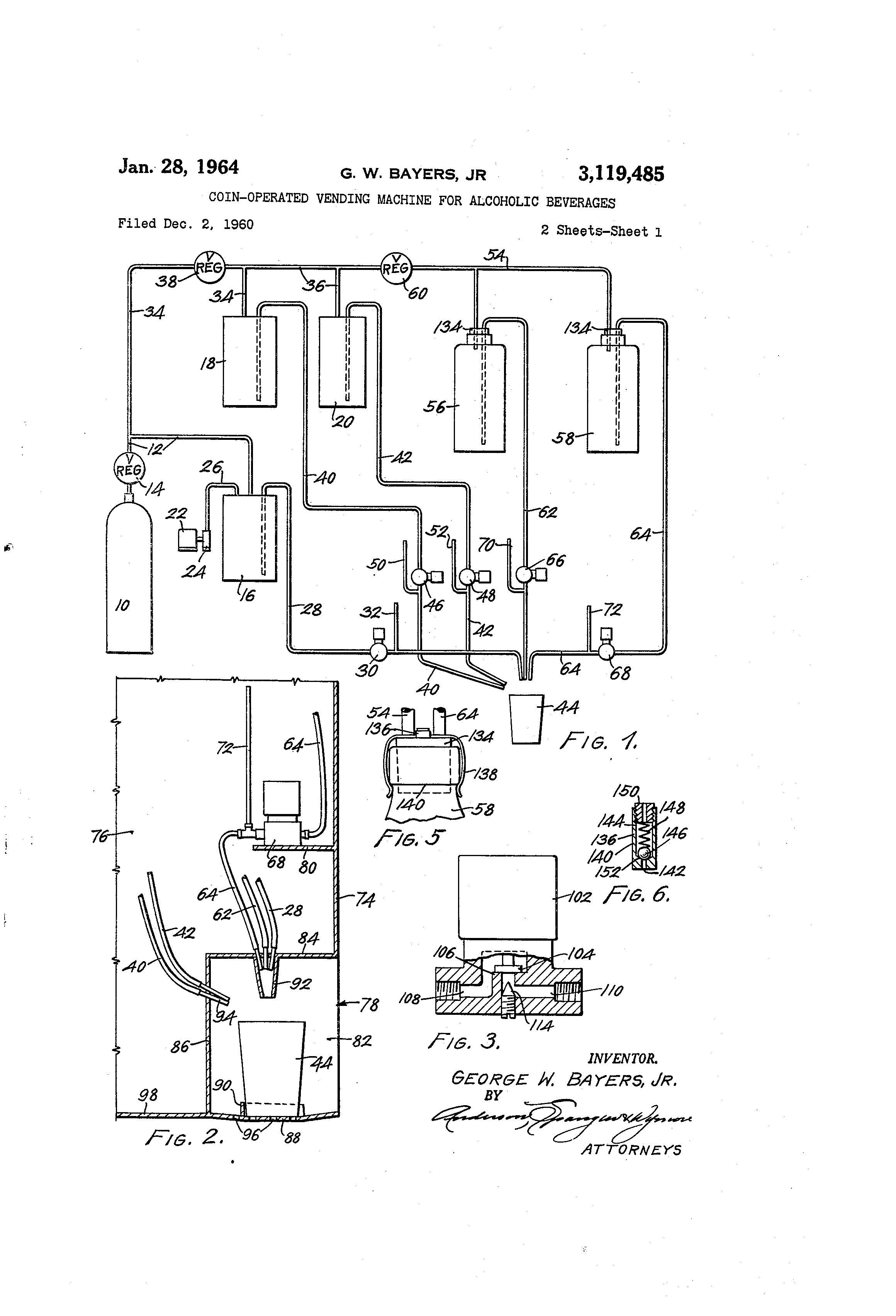 Patent US3119485 - Coin-operated vending machine for alcoholic ...
