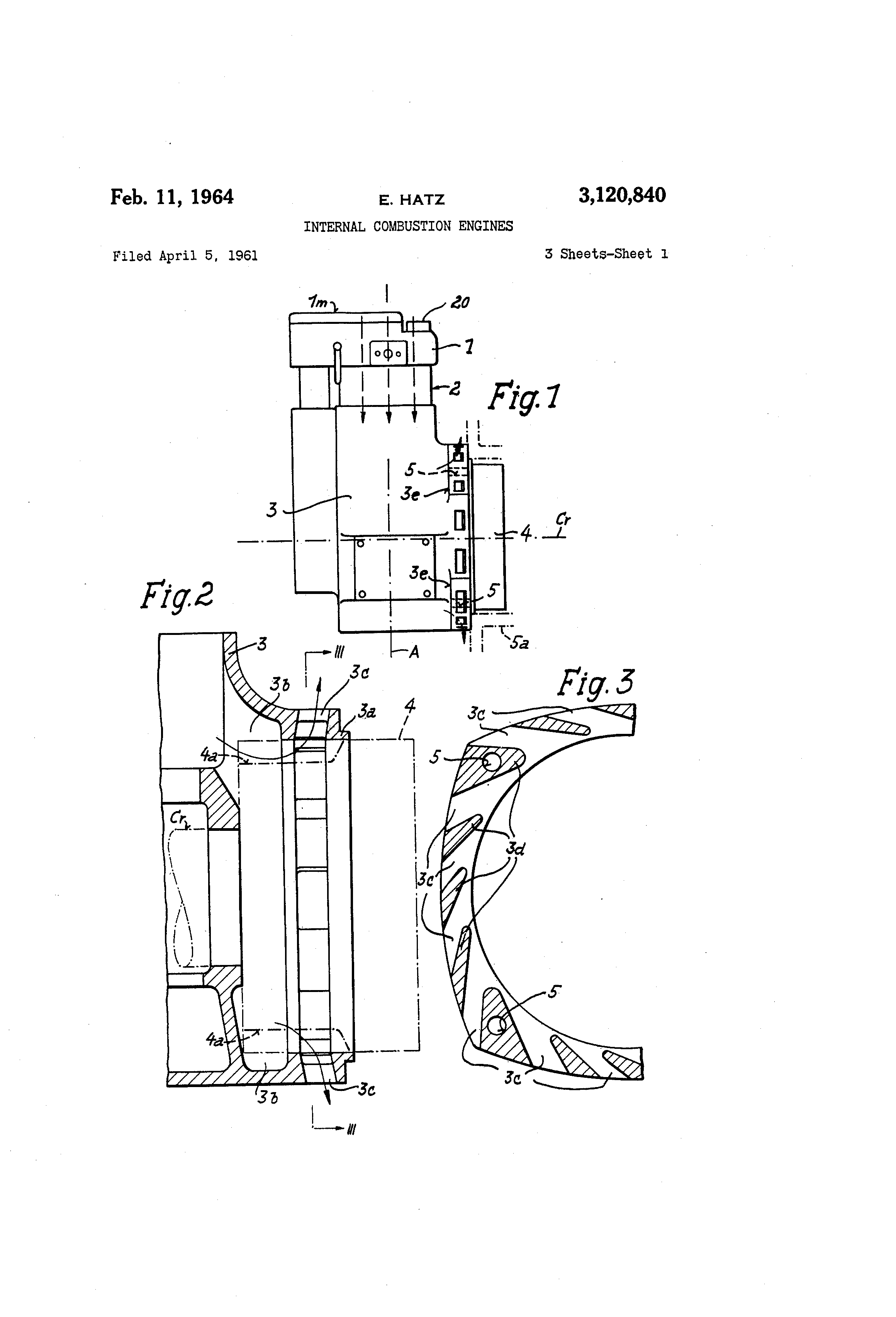 Brevet Us3120840 Internal Combustion Engines Google Brevets Hatz Engine Diagram Patent Drawing