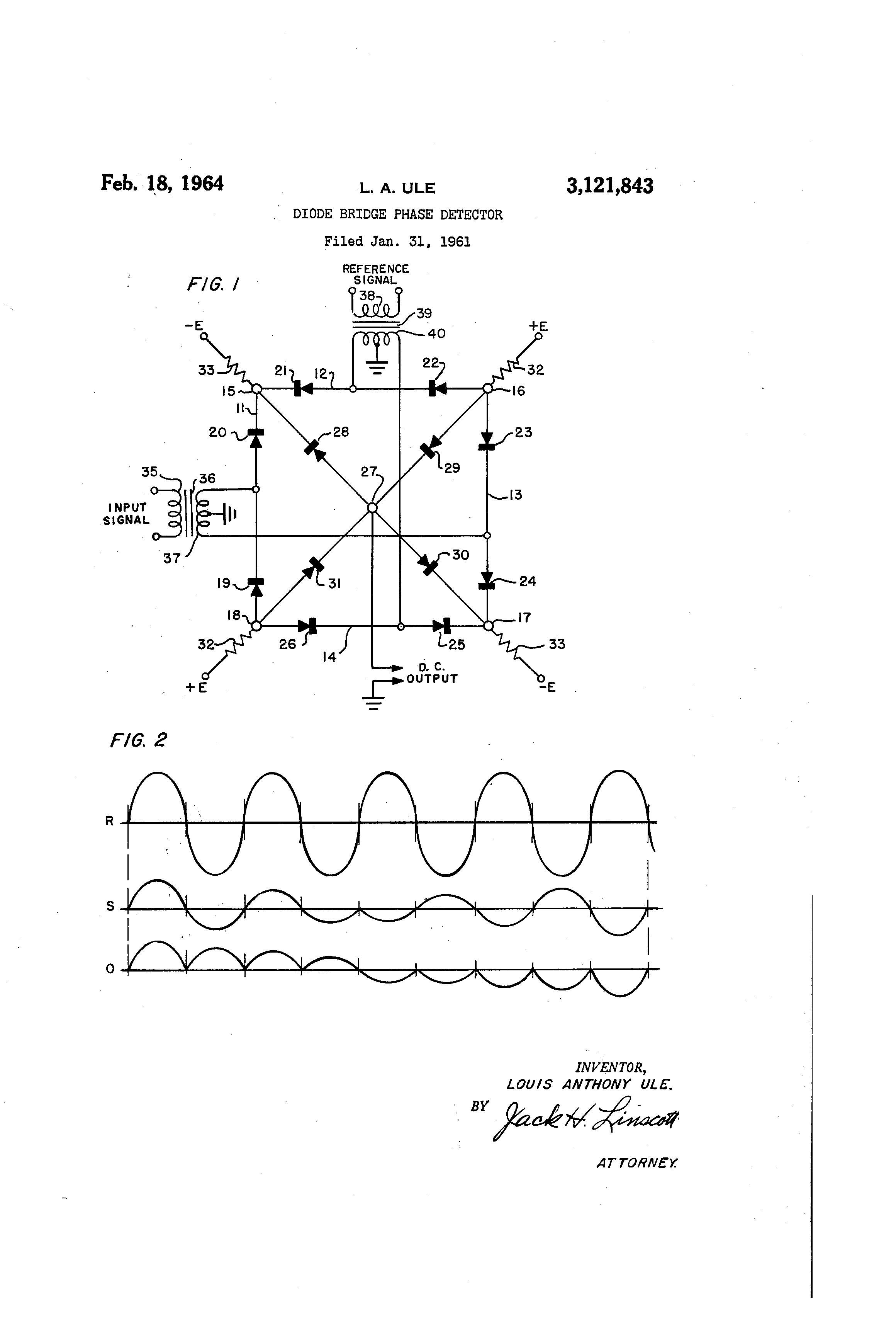 patent us3121843 - diode bridge phase detector