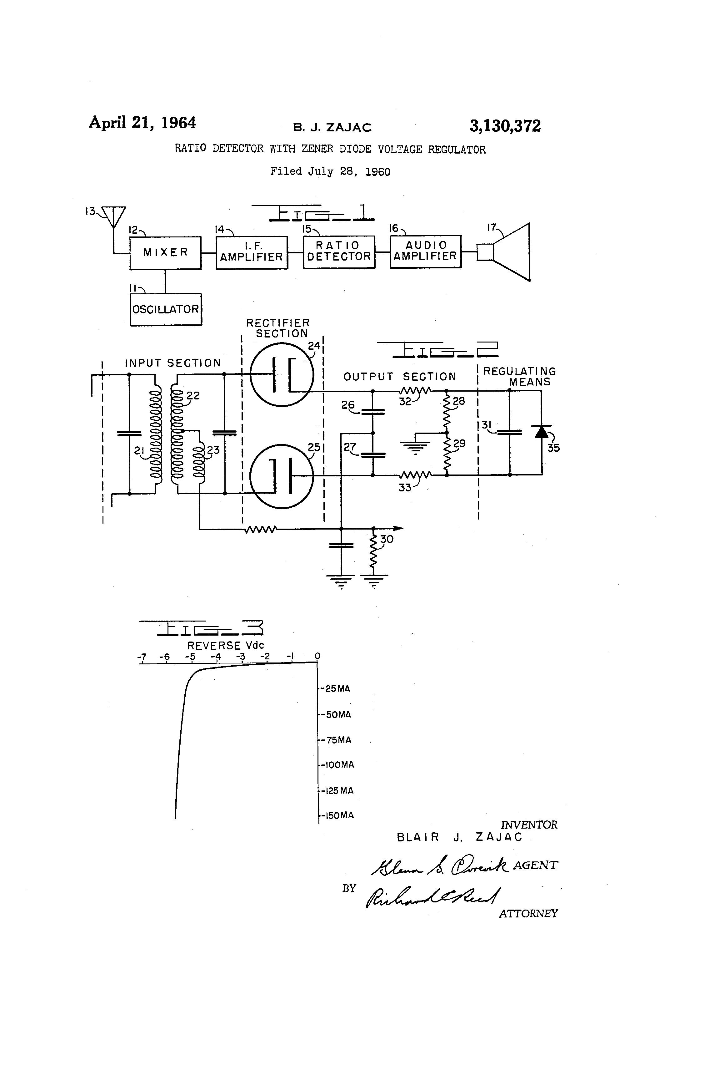 Brevet Us3130372 Ratio Detector With Zener Diode Voltage Regulator Circuit Diagram Patent Drawing