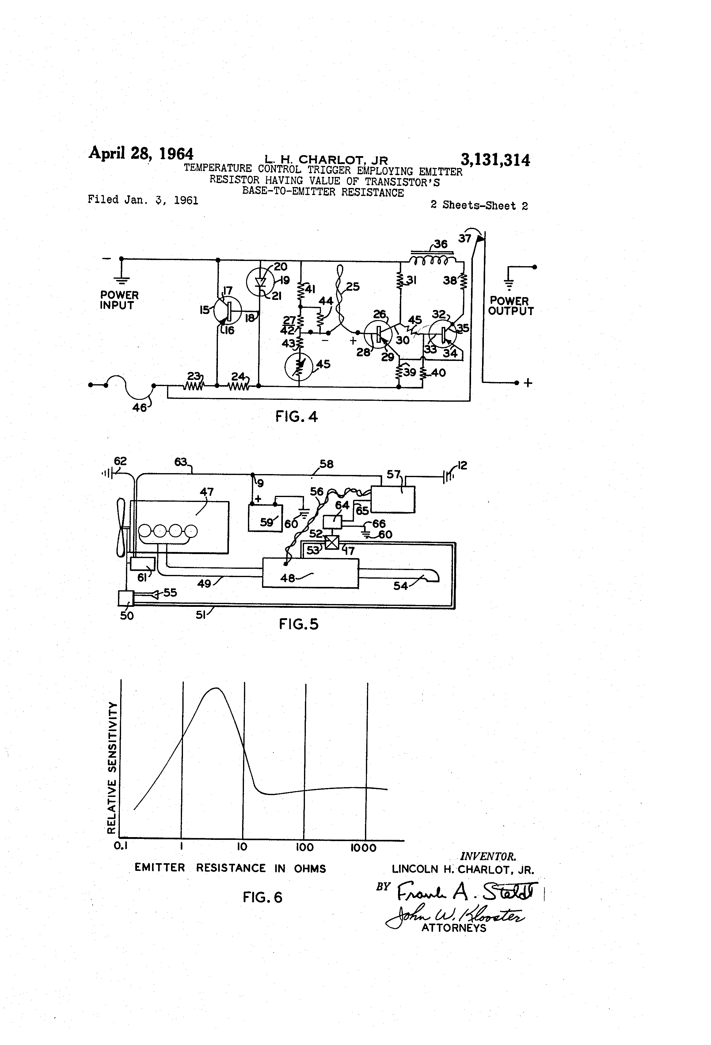 Patent Us3131314 Temperature Control Trigger Employing Emitter Resistor Diagram Value The Is Drawing