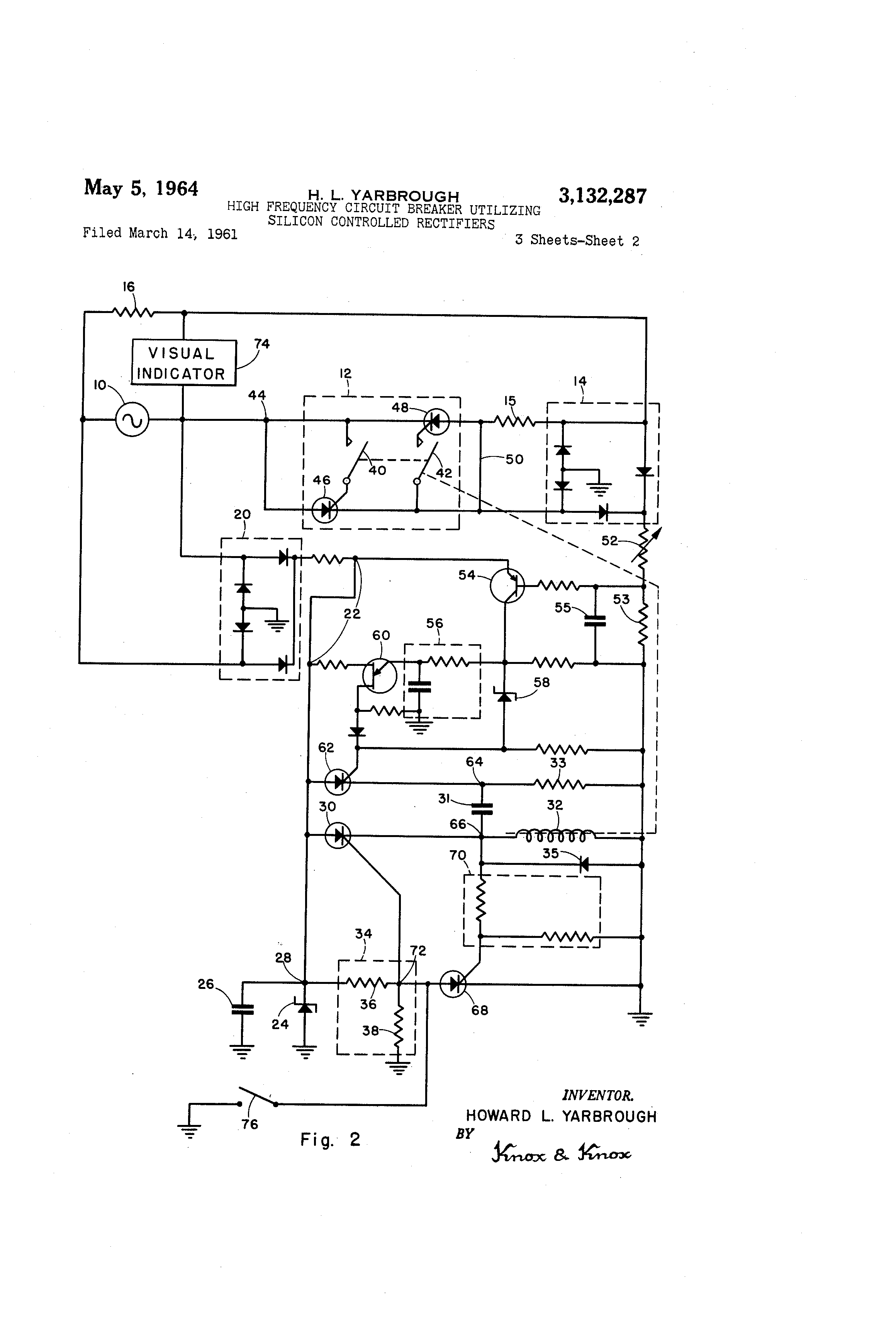 Patent Us3132287 High Frequency Circuit Breaker Utilizing Silicon Circuits Drawing