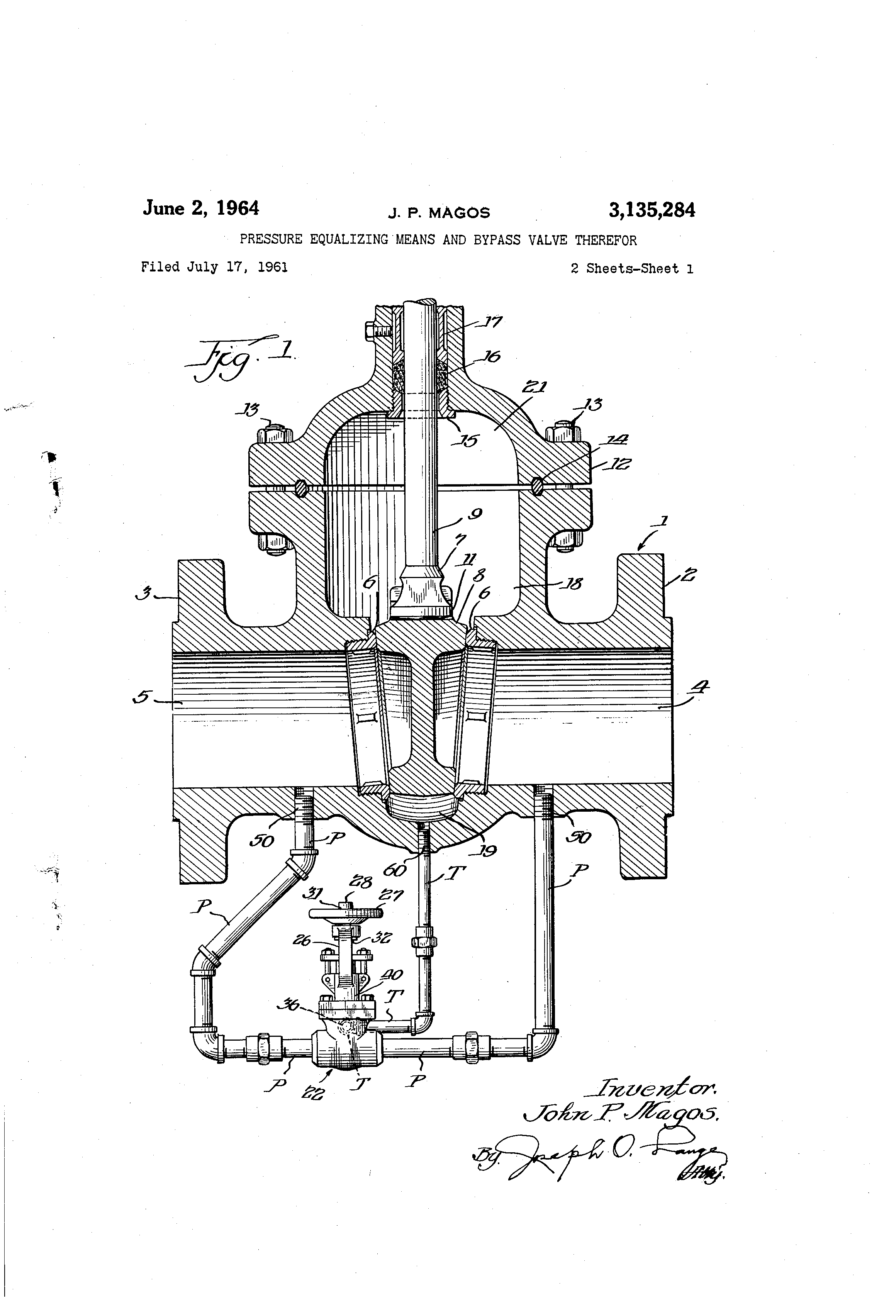 Patent Us3135284 Pressure Equalizing Means And Bypass