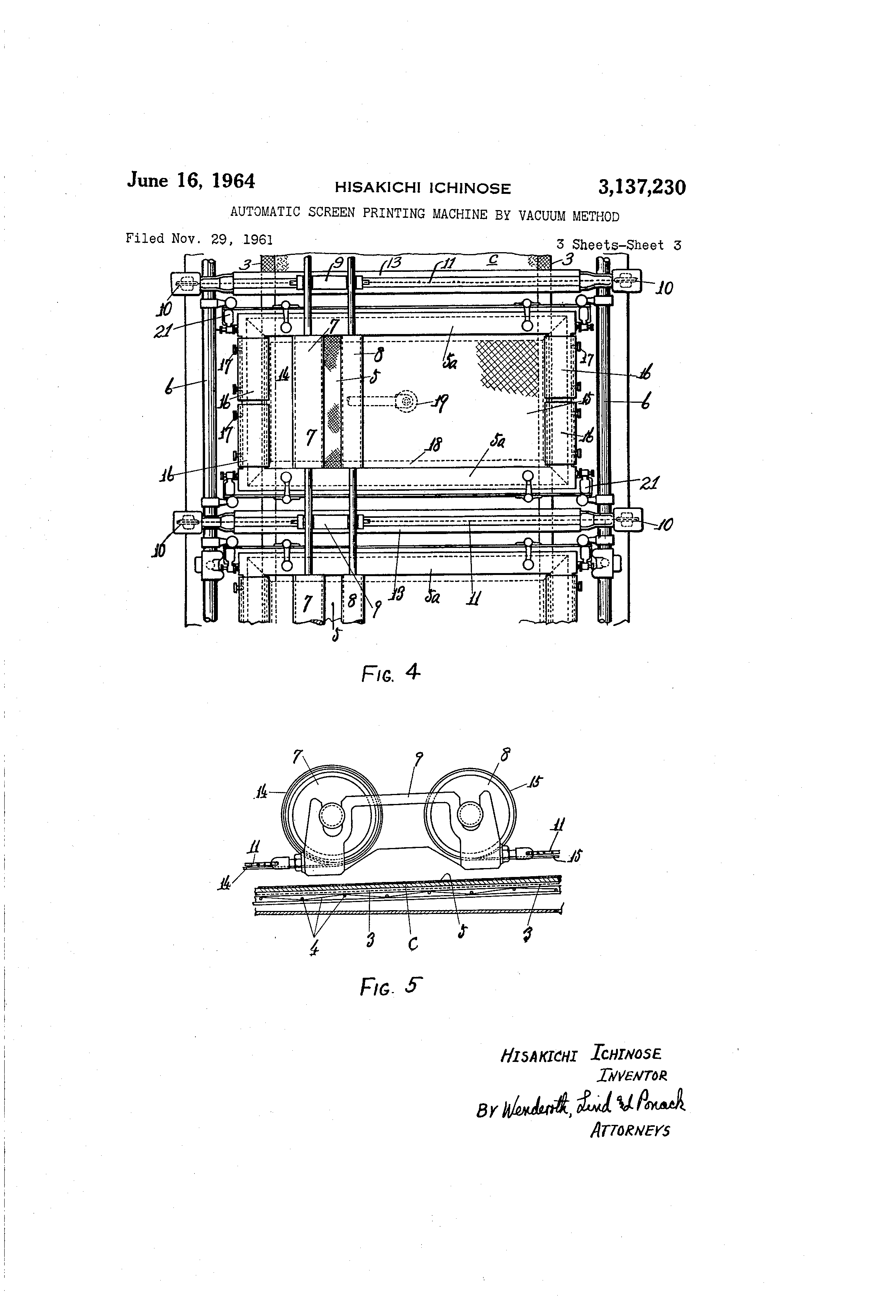 Patente Us3137230 Automatic Screen Printing Machine By Vacuum Schematic Diagram 7230 Patent Drawing