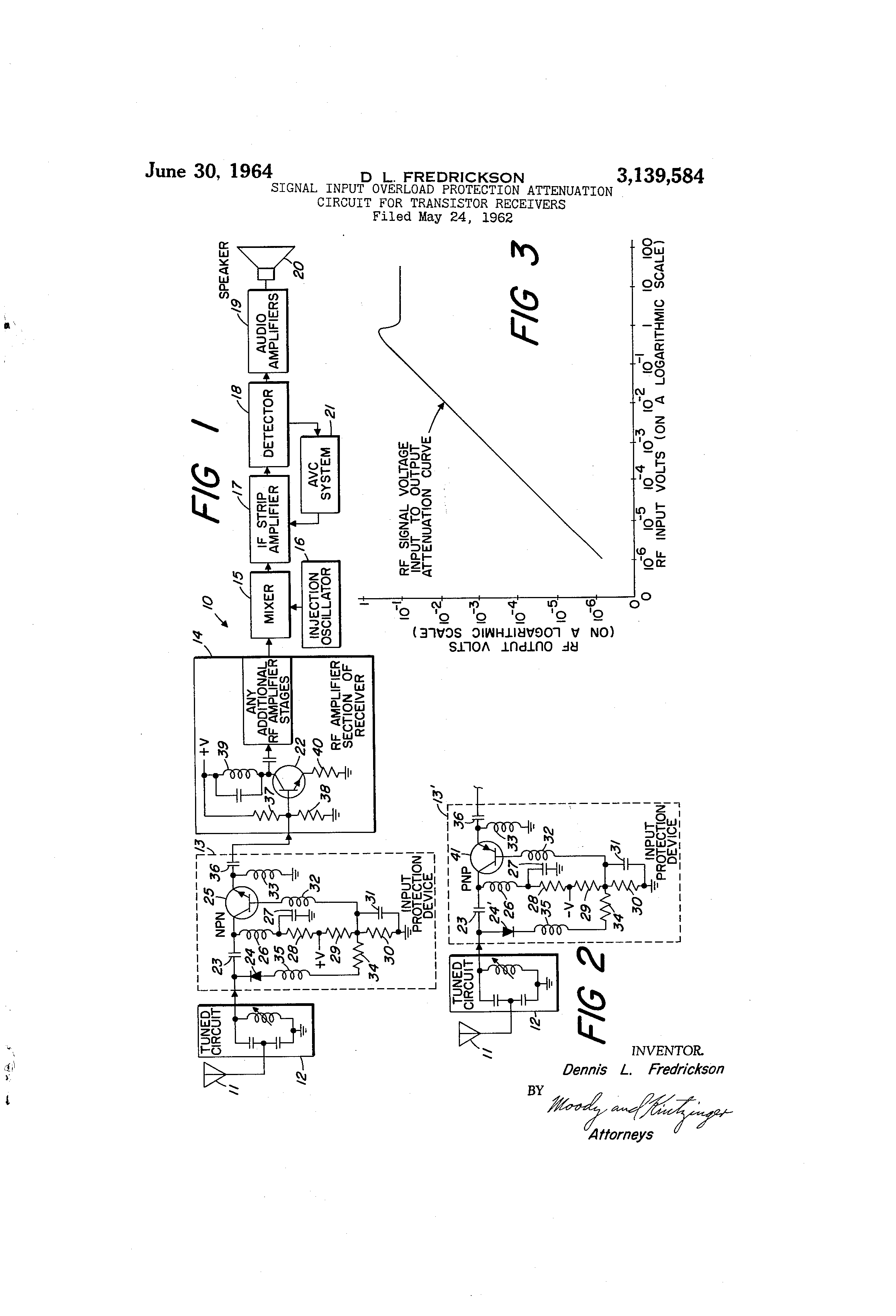 Patent Us3139584 Signal Input Overload Protection Attenuation The If Circuit Of Radio Frequency Npn Amplifier Drawing