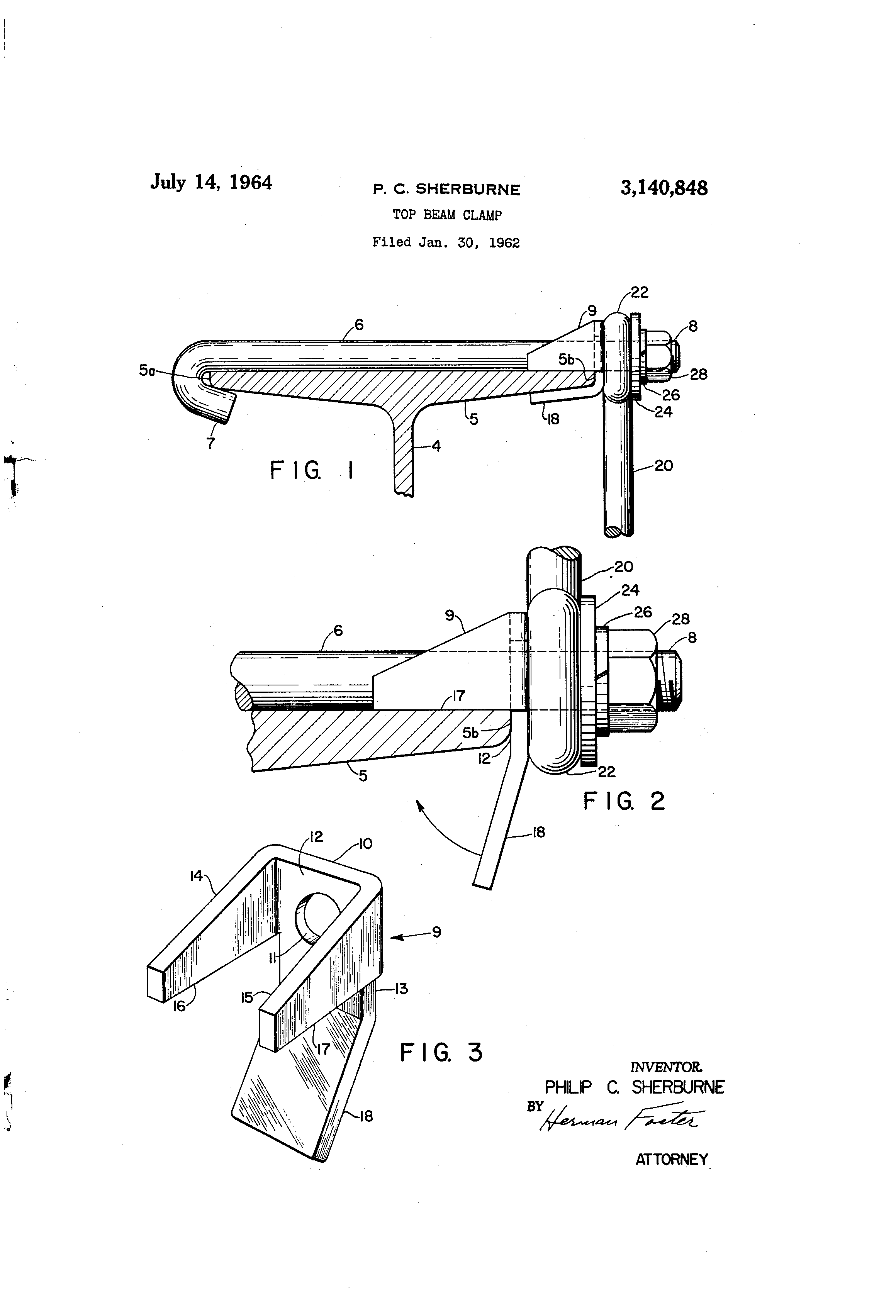 Patent Us3140848 Top Beam Clamp Google Patents