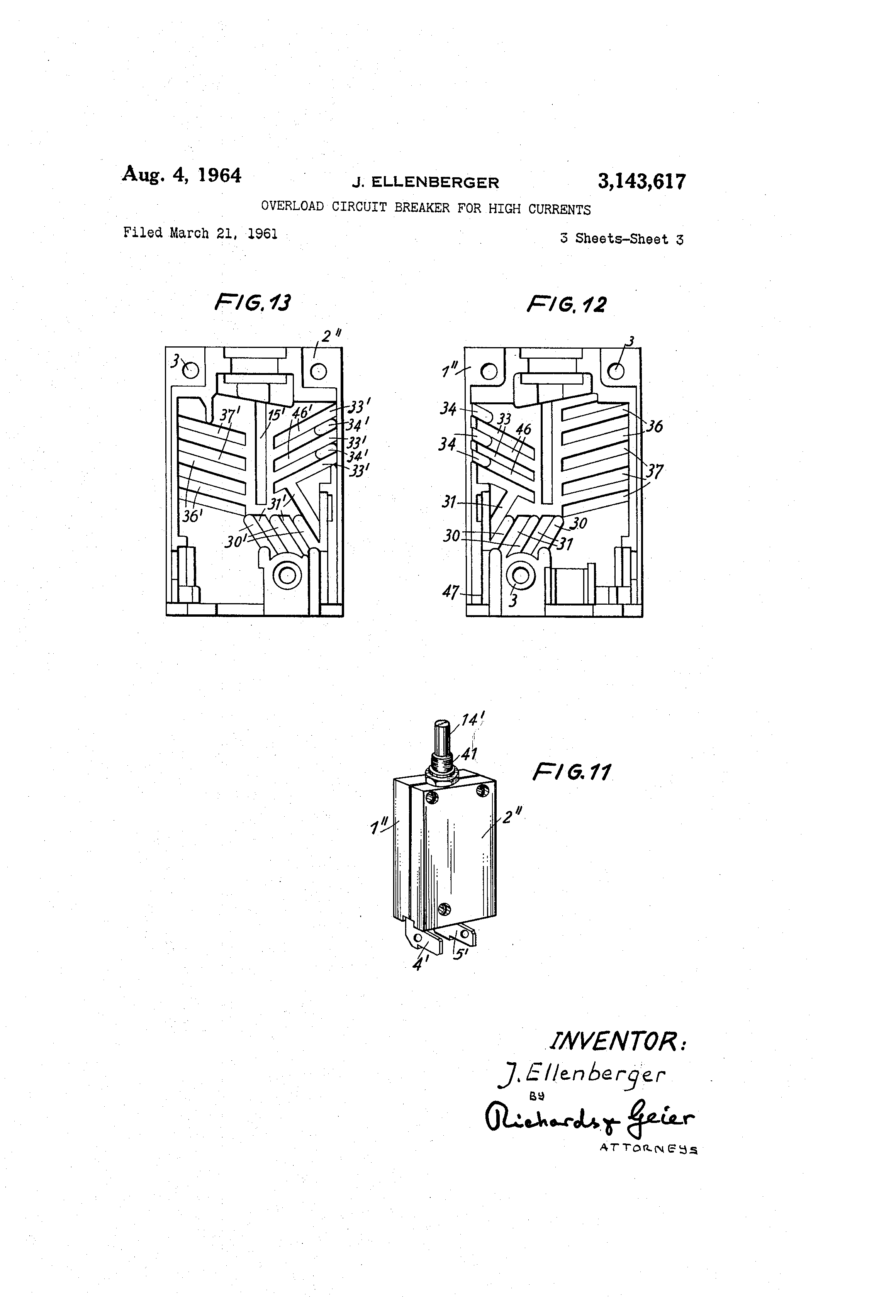 Patent Us3143617 Overload Circuit Breaker For High Currents Figure 2 Pushbutton Closed Current Flows Drawing