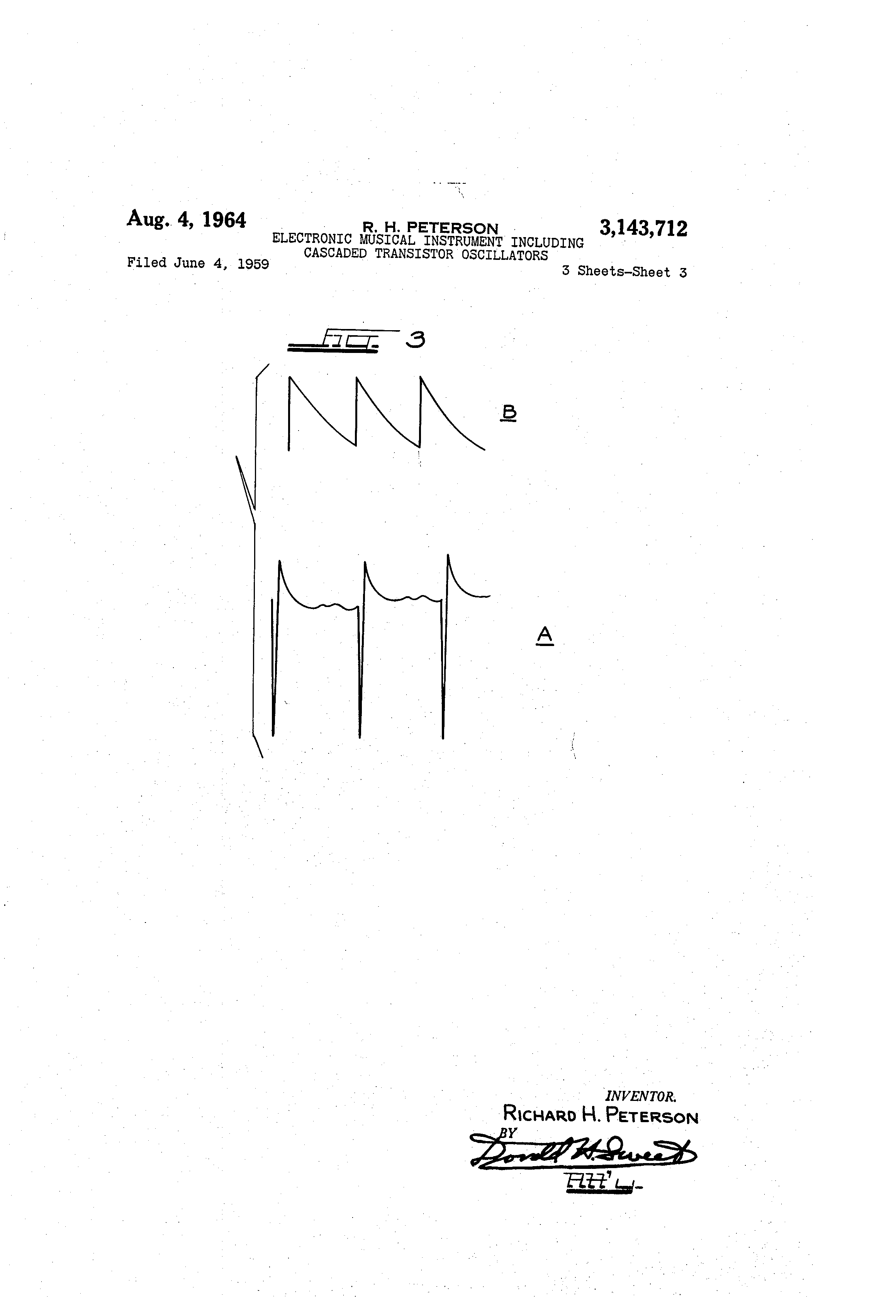 Patent Us3143712 Electronic Musical Instrument Including Cascaded Peterson 7 Way Wiring Diagram Drawing