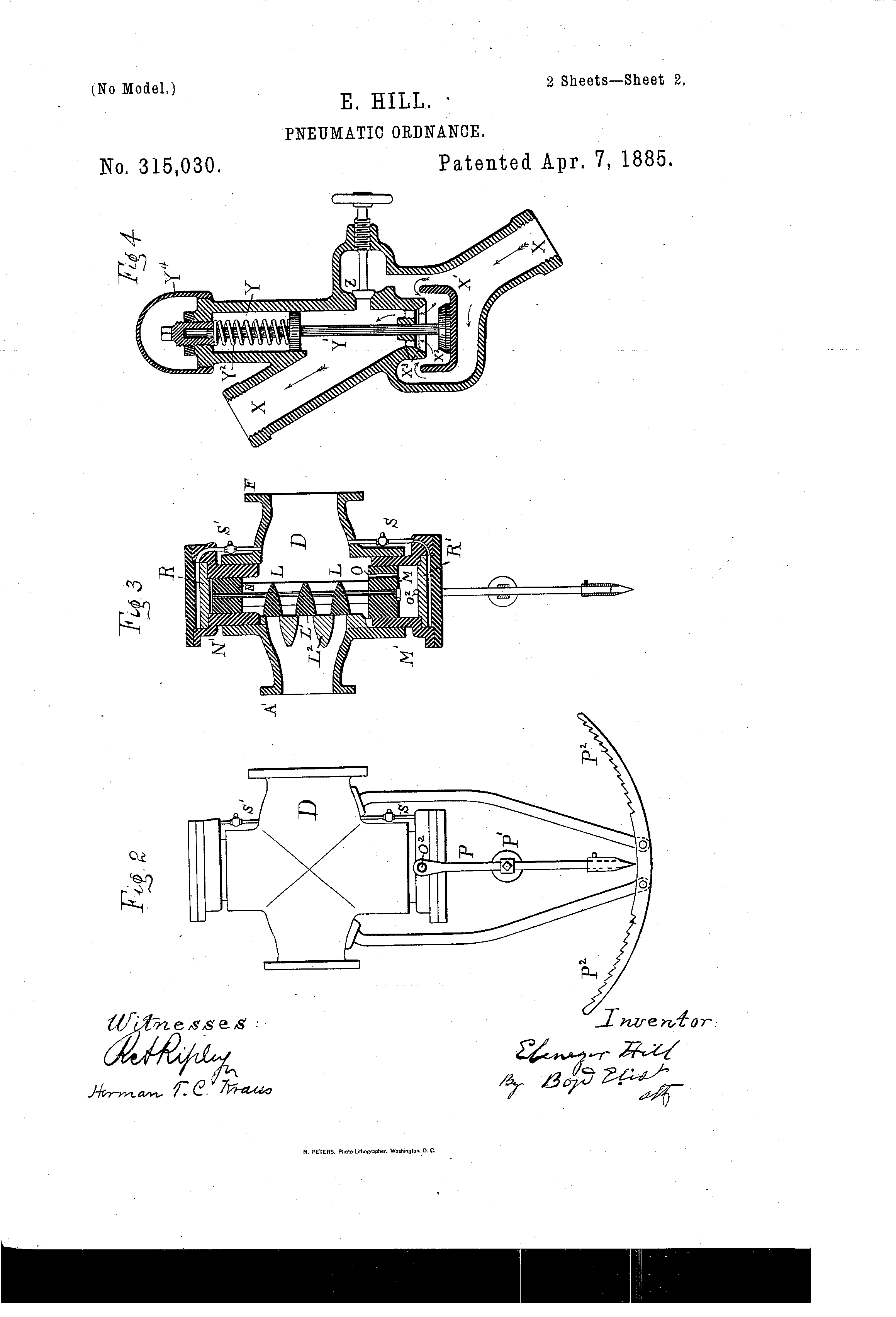 patent us315030 pneumatic ordnance patents Magazine Pages patent drawing