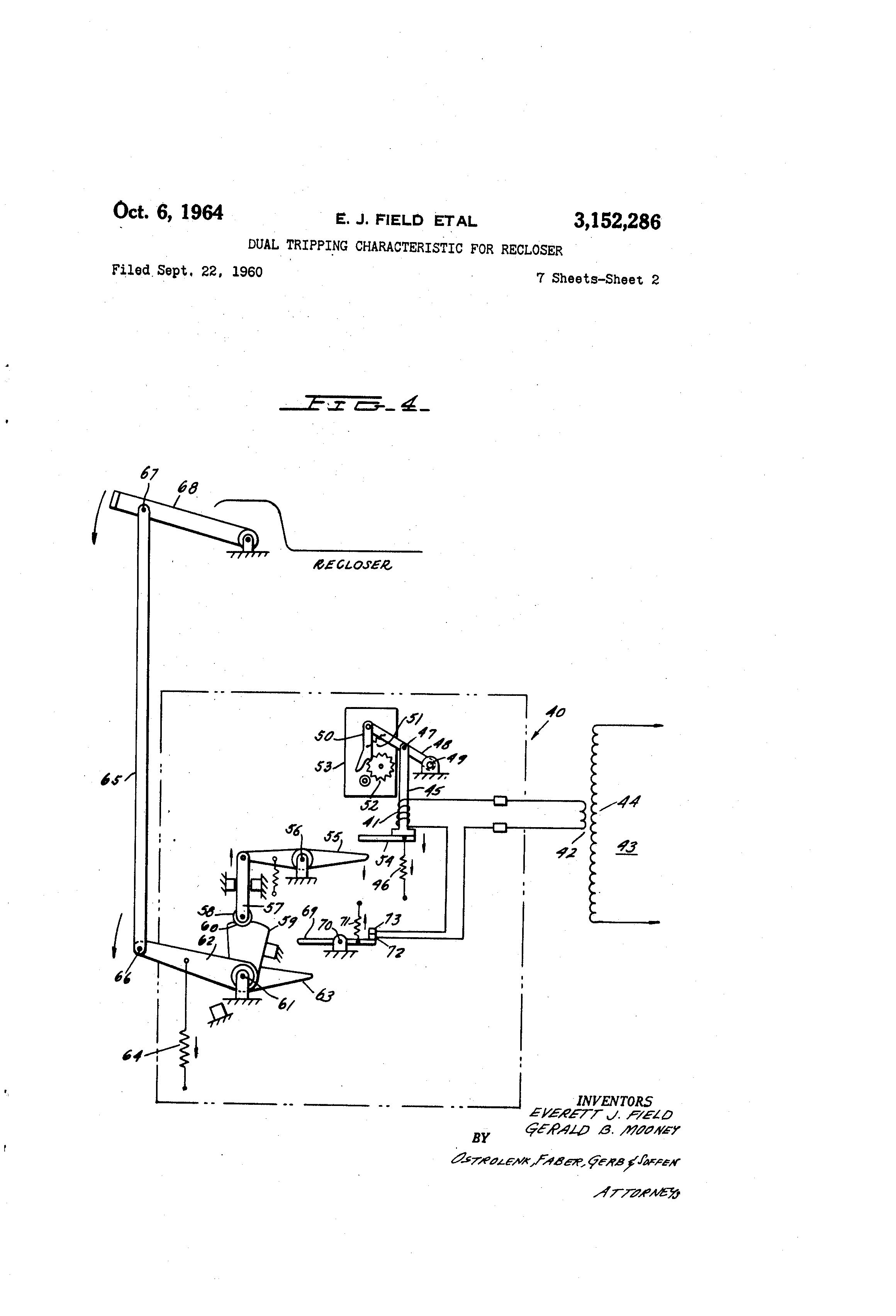 Patent Us3152286 Dual Tripping Characteristic For Recloser 40a Controlled Circuit Breaker Remote Control Drawing