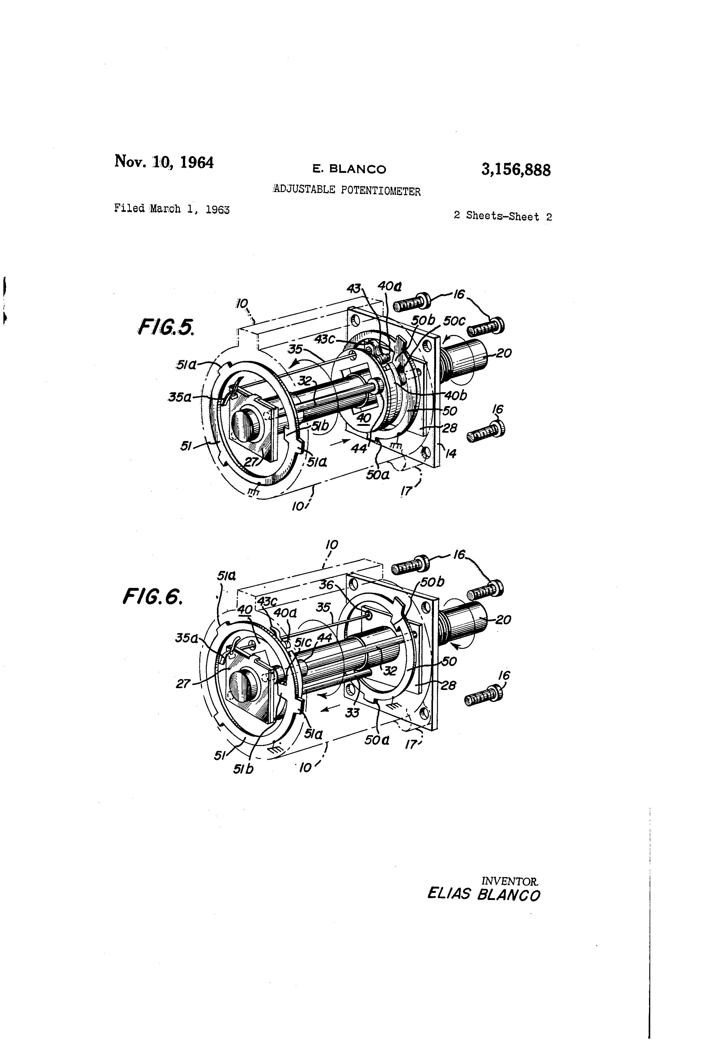 Brevet Us3156888 Adjustable Potentiometer Google Brevets Clarostat Wiring Patent Drawing