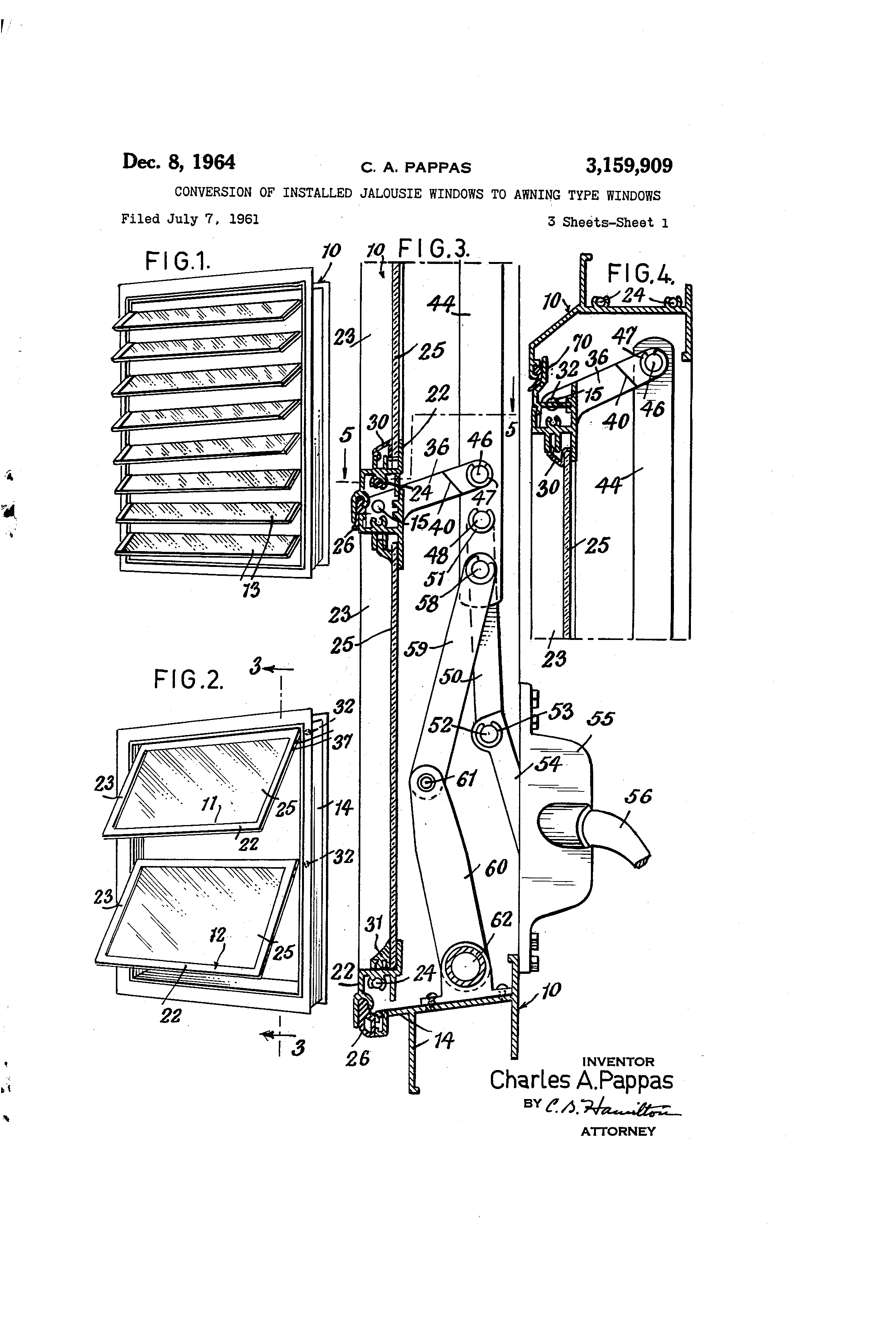 Patent Us3159909 Conversion Of Installed Jalousie
