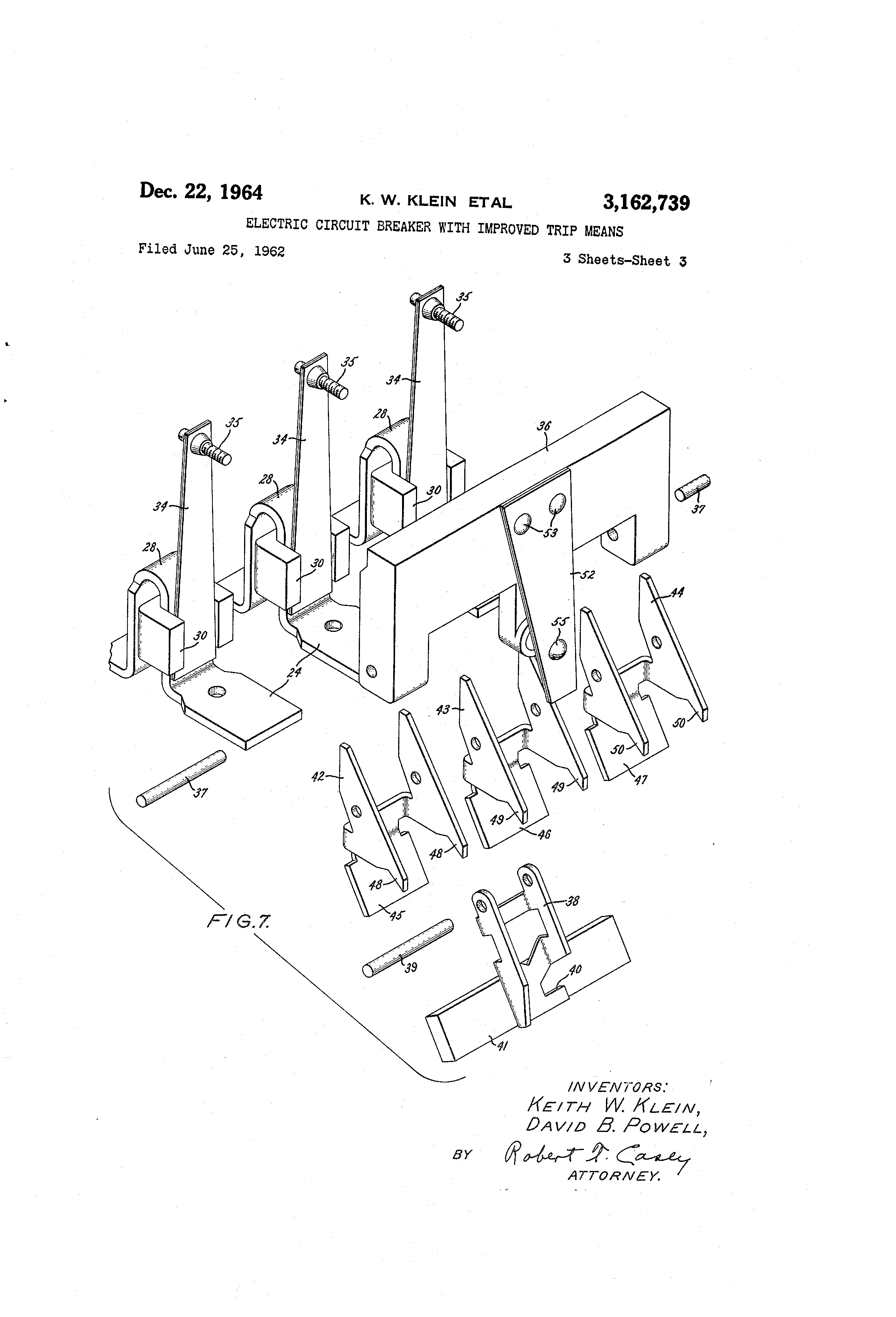patent us3162739 - electric circuit breaker with improved trip means