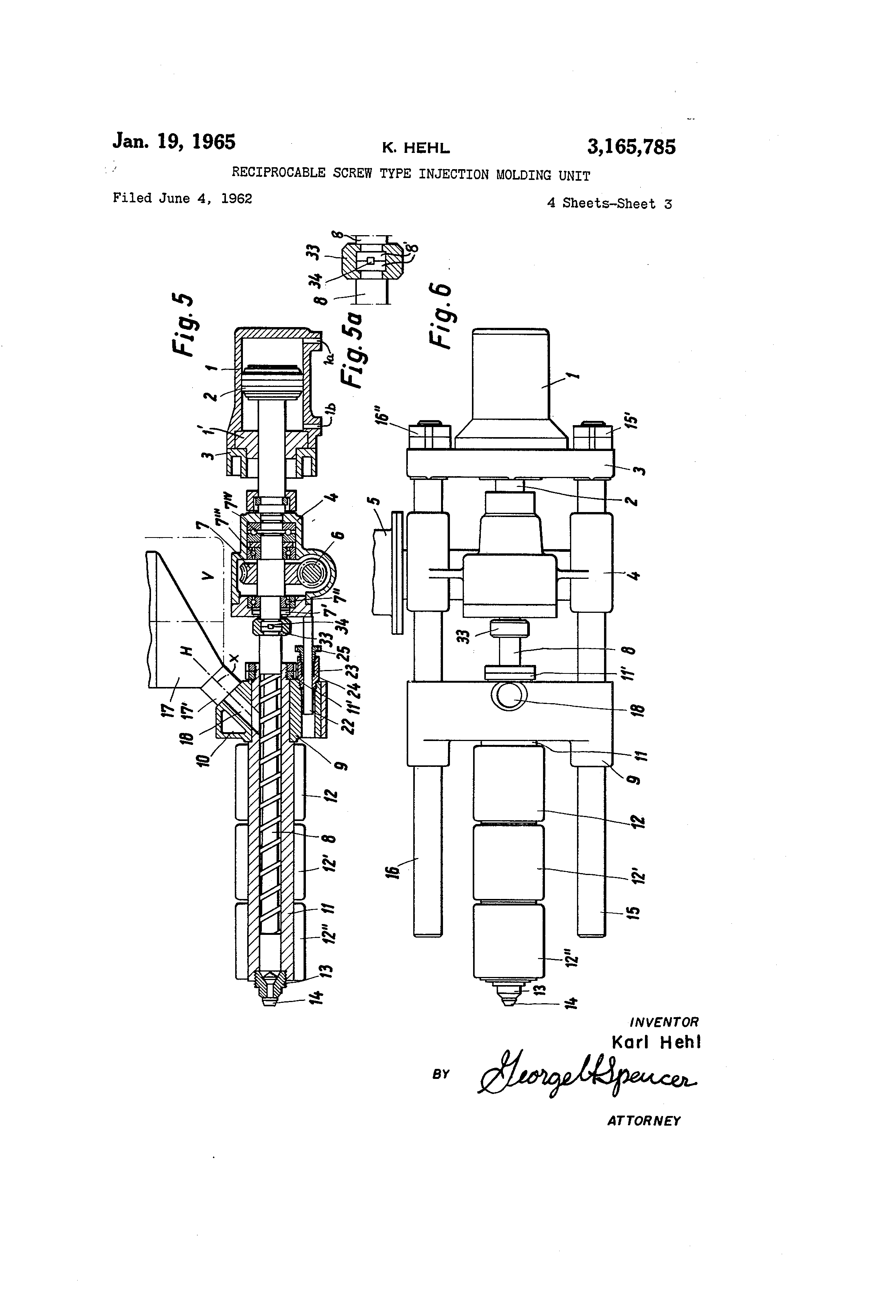 patent us3165785 - reciprocable screw type injection molding unit