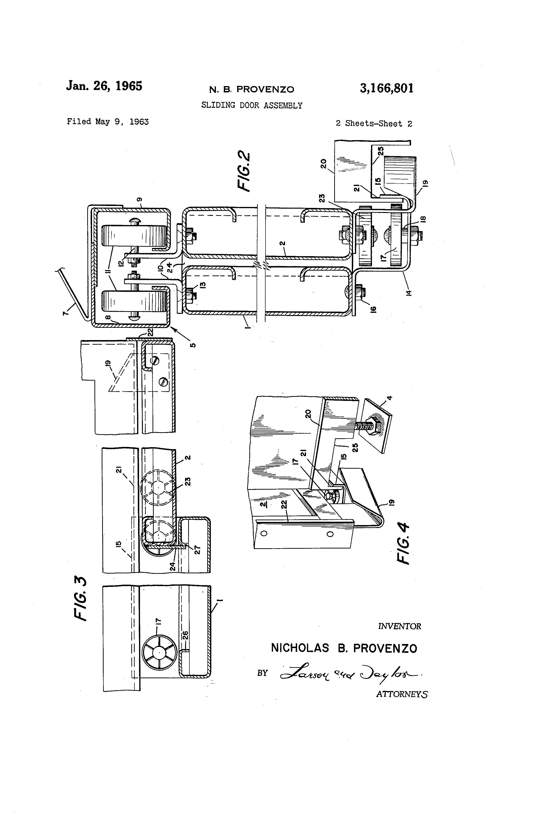 Patent Us3166801 Sliding Door Assembly Google Patents
