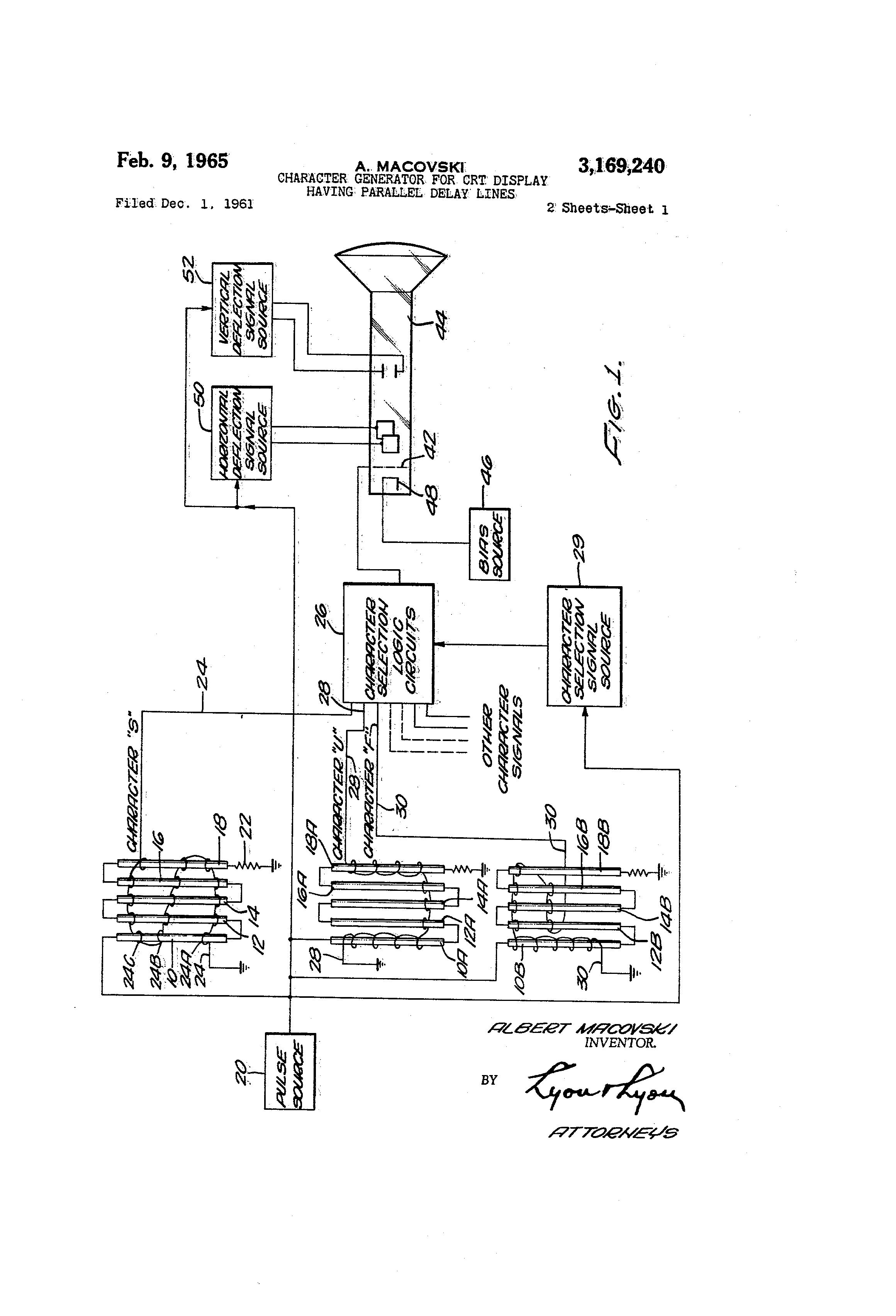 Patent Us3169240 Character Generator For Crt Display Having Monitor Diagram Drawing