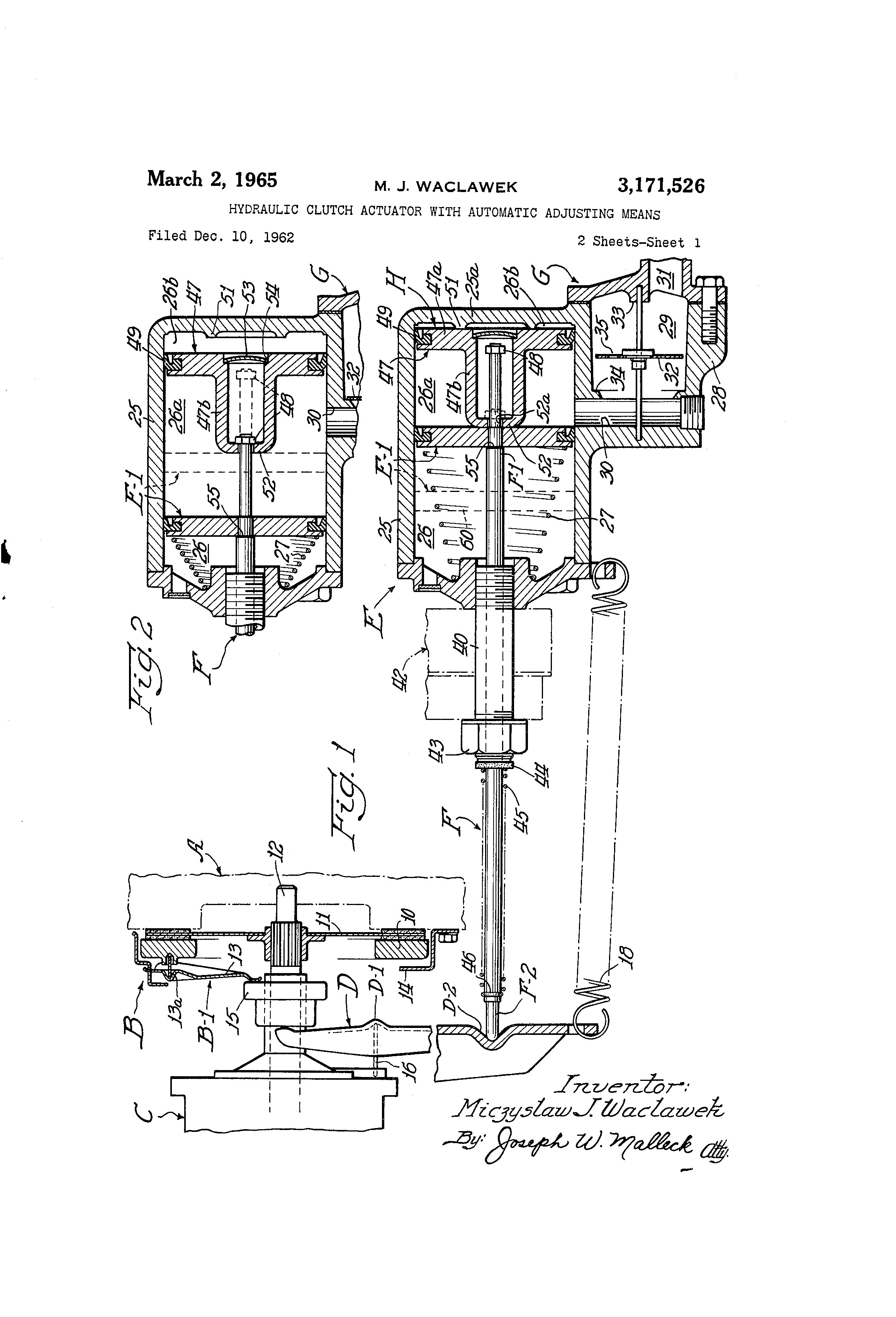 Brevet Us3171526 Hydraulic Clutch Actuator With Automatic Diagram Patent Drawing