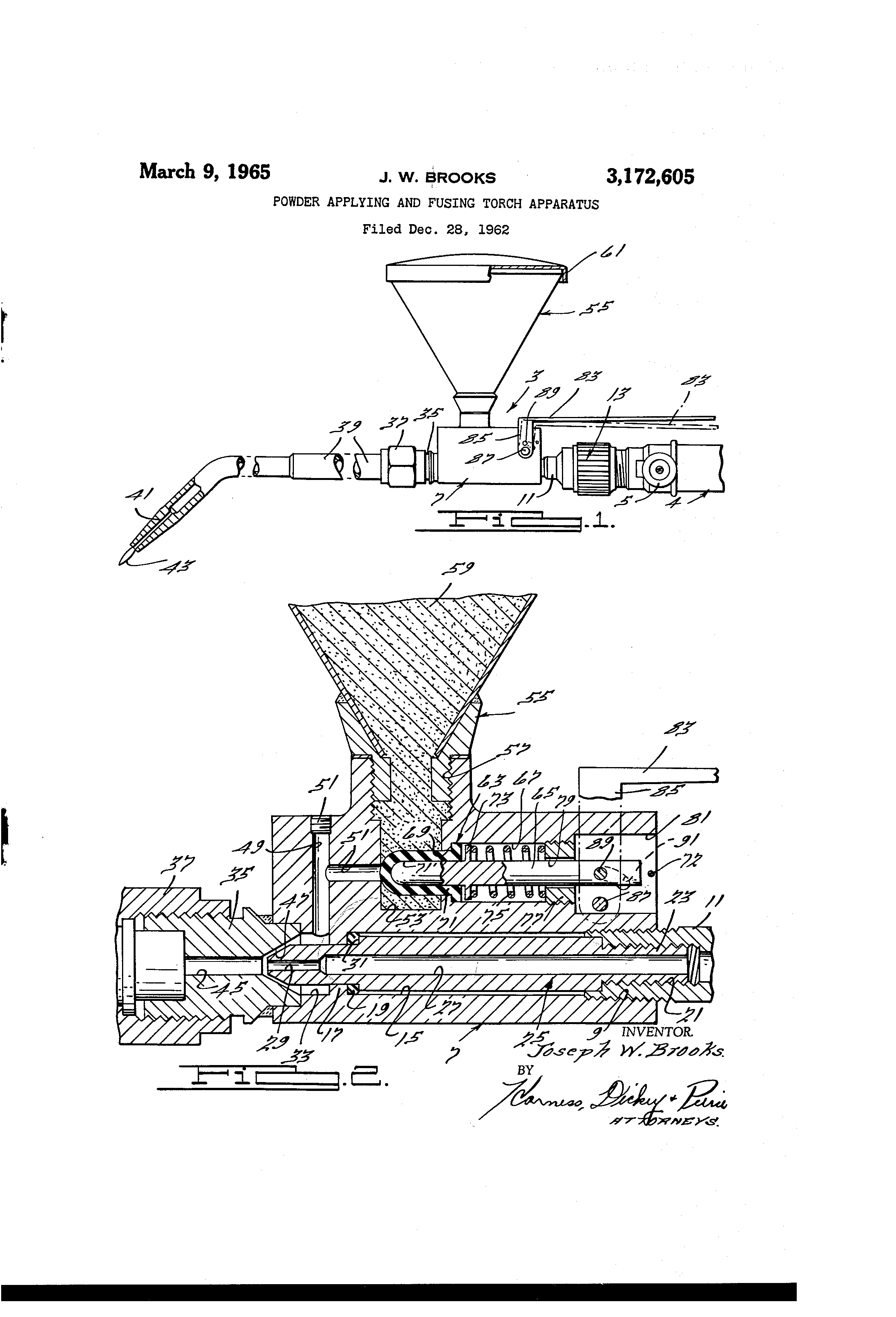 Brevet Us3172605 Powder Applying And Fusing Torch Apparatus Oxy Acetylene Welding Equipment Diagram Patent Drawing