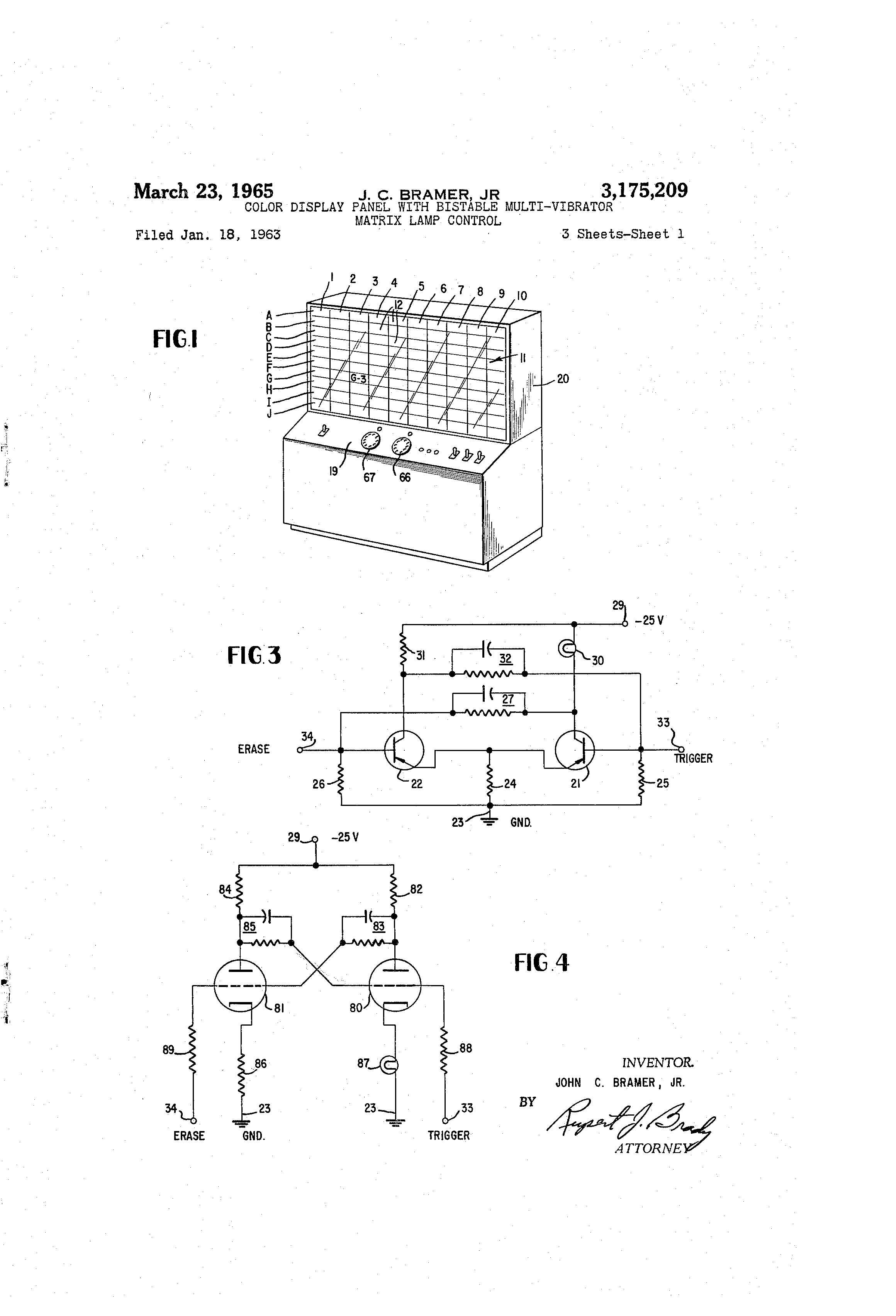 Patent Us3175209 Color Display Panel With Bistable Multivibrator Relay Circuit Drawing