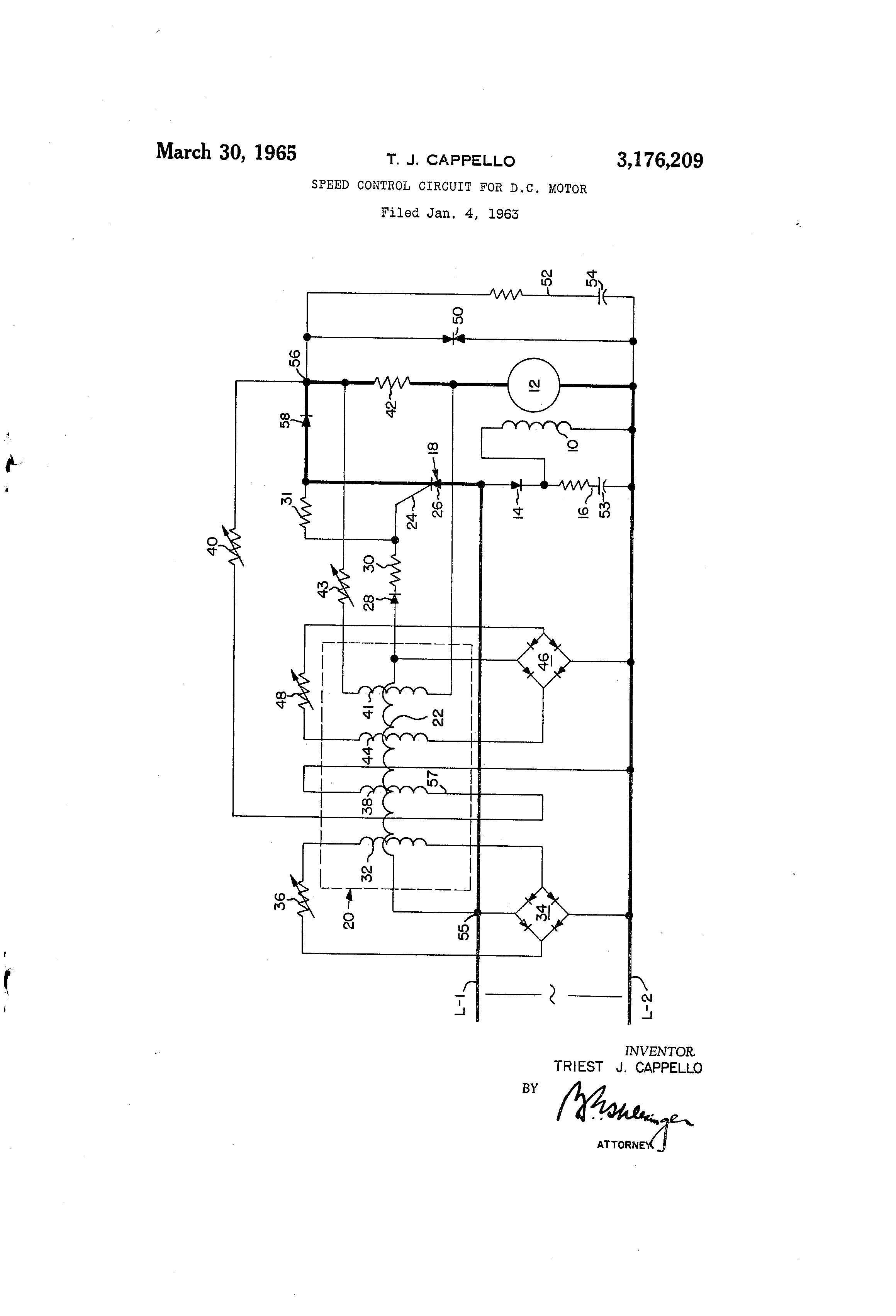 Patent Us3176209 Speed Control Circuit For Dc Motor Google Patents Controller Diagram Drawing