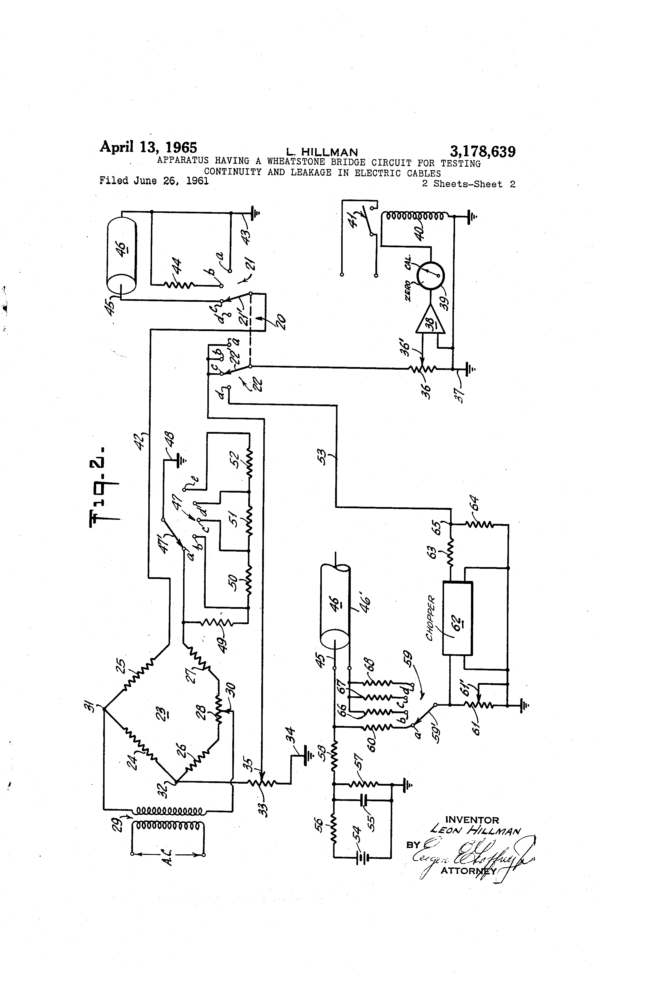 Patent Us3178639 Apparatus Having A Wheatstone Bridge Circuit For Of An Electrical Showing The Drawing