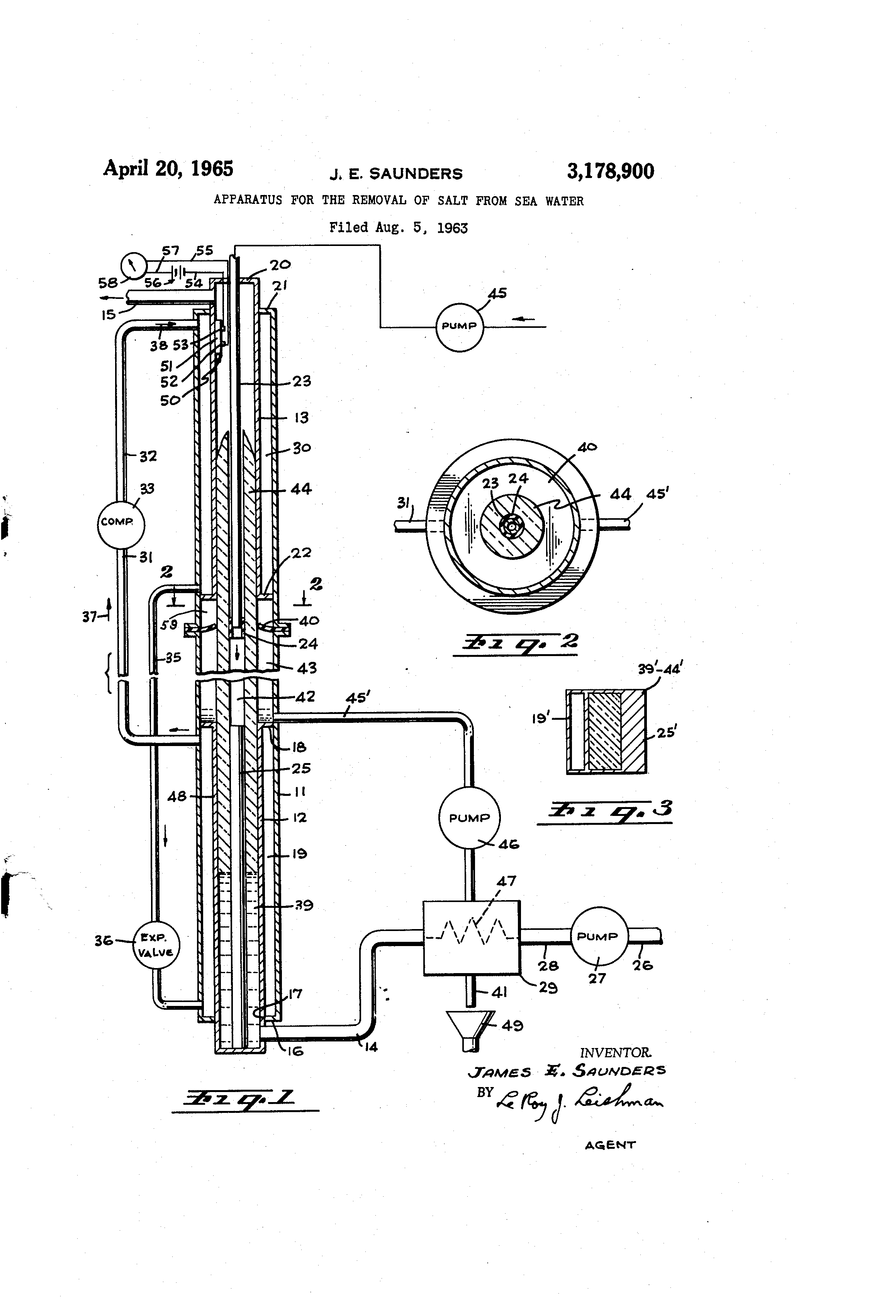 Patente US Apparatus for the removal of salt from sea