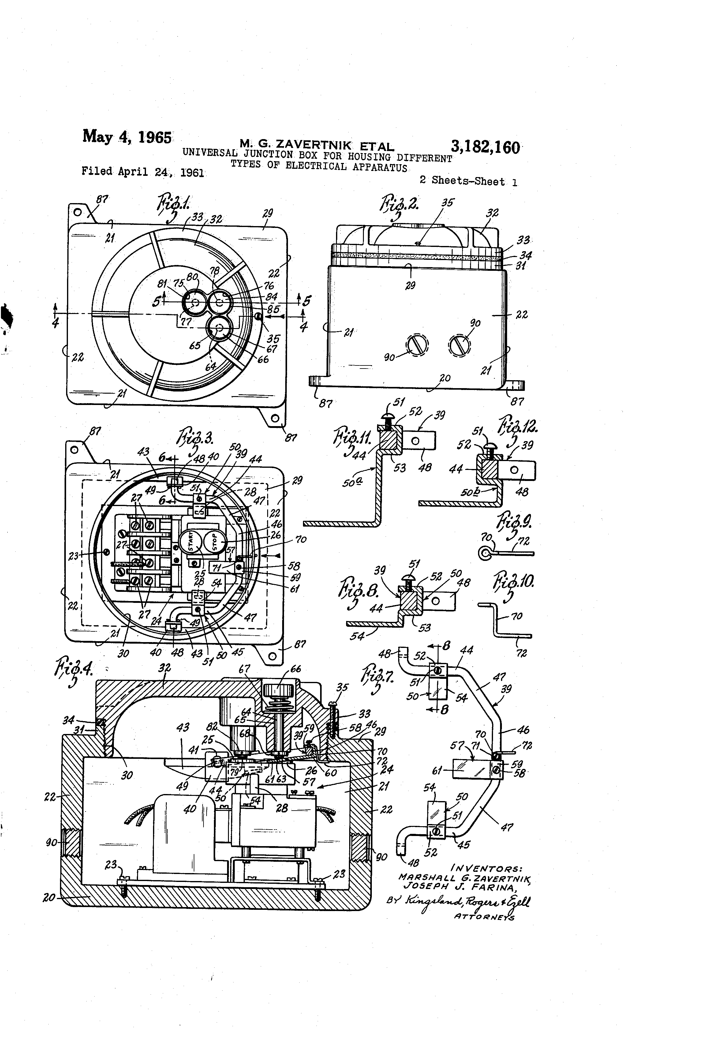 Patent Us3182160 Universal Junction Box For Housing Different Electrical Wiring Diagrams Residential Drawing